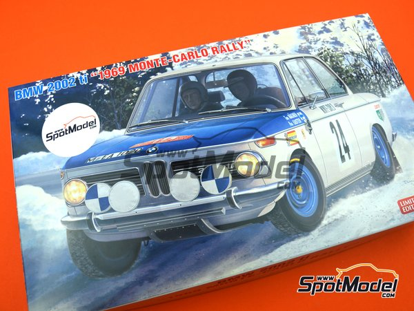 Image 14: BMW 2002 tii - Montecarlo Rally - Rallye Automobile de Monte-Carlo 1969   Model car kit in 1/24 scale manufactured by Hasegawa (ref.20332)