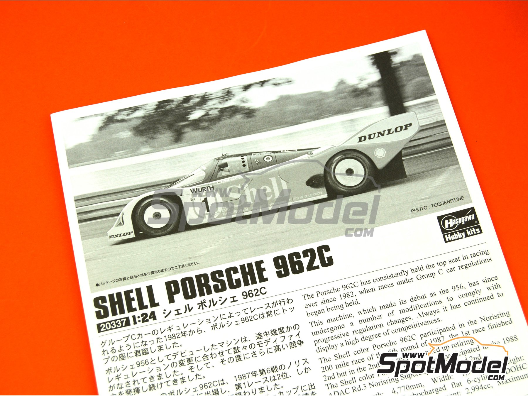 Image 6: Porsche 962C Shell - FIA World Sports-Prototype Championship - WSPC, ADAC Norisring Supercup 1988 | Model car kit in 1/24 scale manufactured by Hasegawa (ref. 20337)