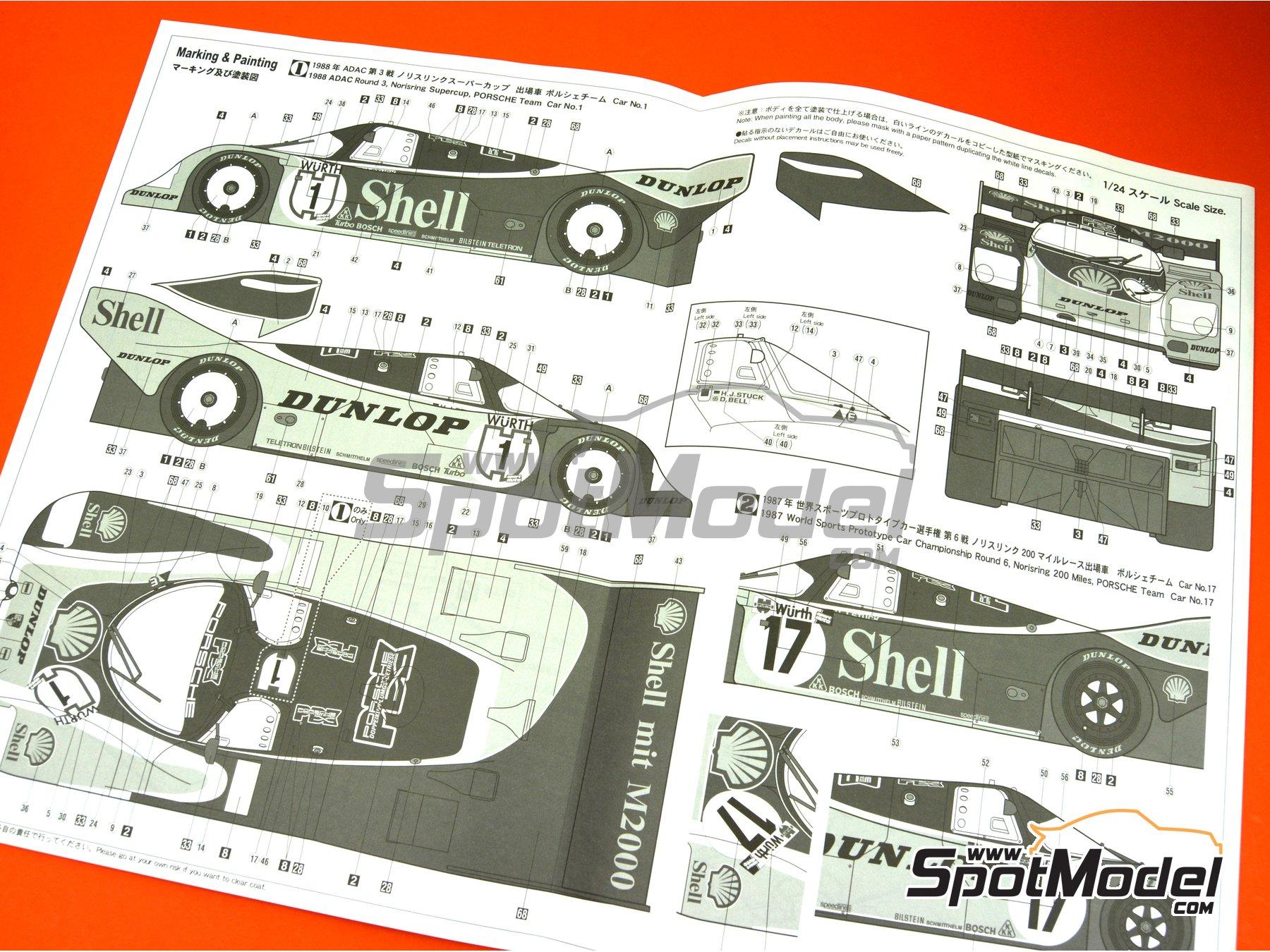 Image 8: Porsche 962C Shell - FIA World Sports-Prototype Championship (WSPC), ADAC Norisring Supercup 1988 | Model car kit in 1/24 scale manufactured by Hasegawa (ref.20337)
