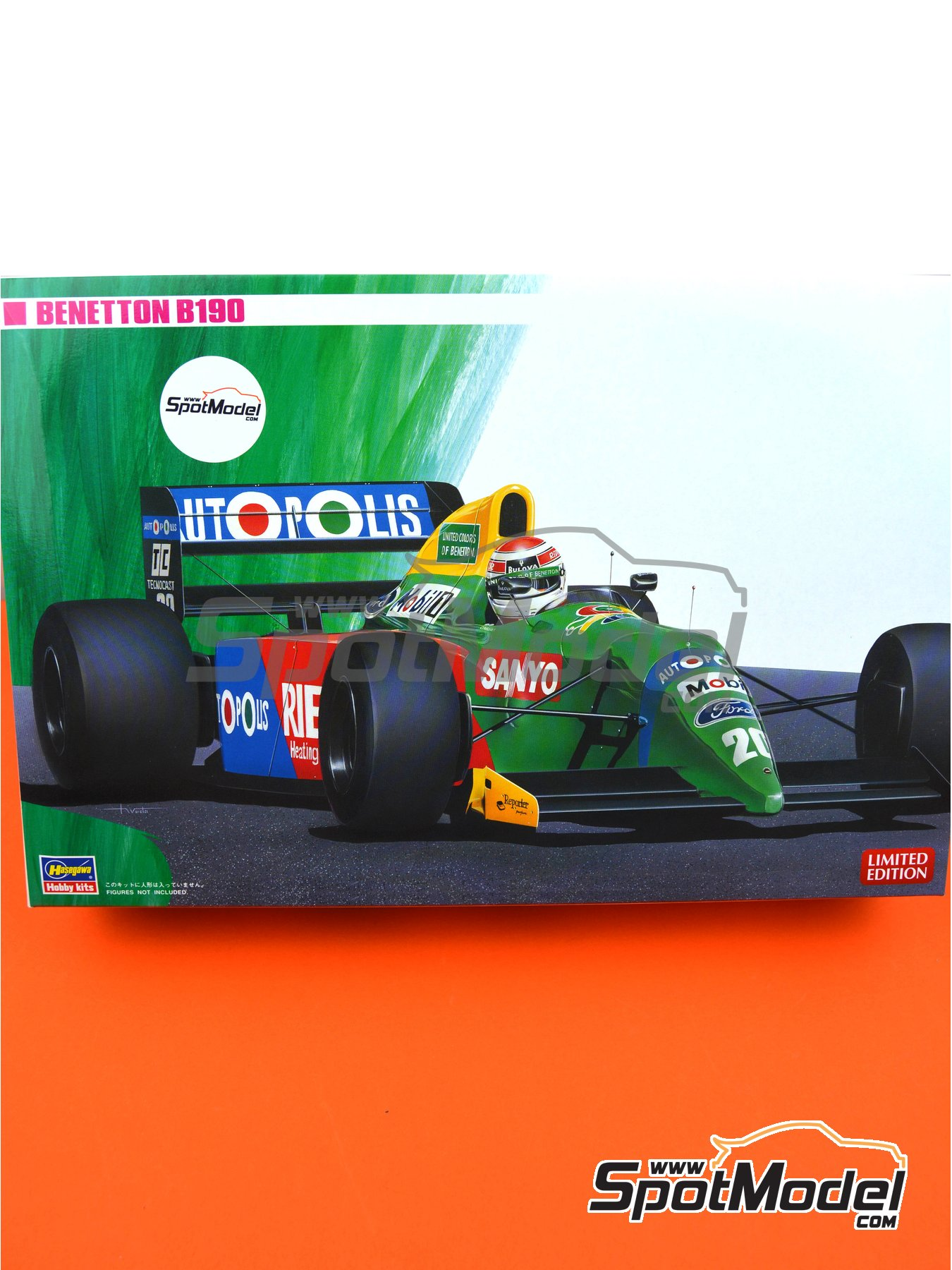 Benetton Ford B190 Autopolis - Japanese Formula 1 Grand Prix, Monaco Formula 1 Grand Prix 1990 | Model car kit in 1/24 scale manufactured by Hasegawa (ref. 20340, also FS5, FS-5, 23010, CF10, CF-10, 51550, SP50, 23013, CF13 and CF-13) image