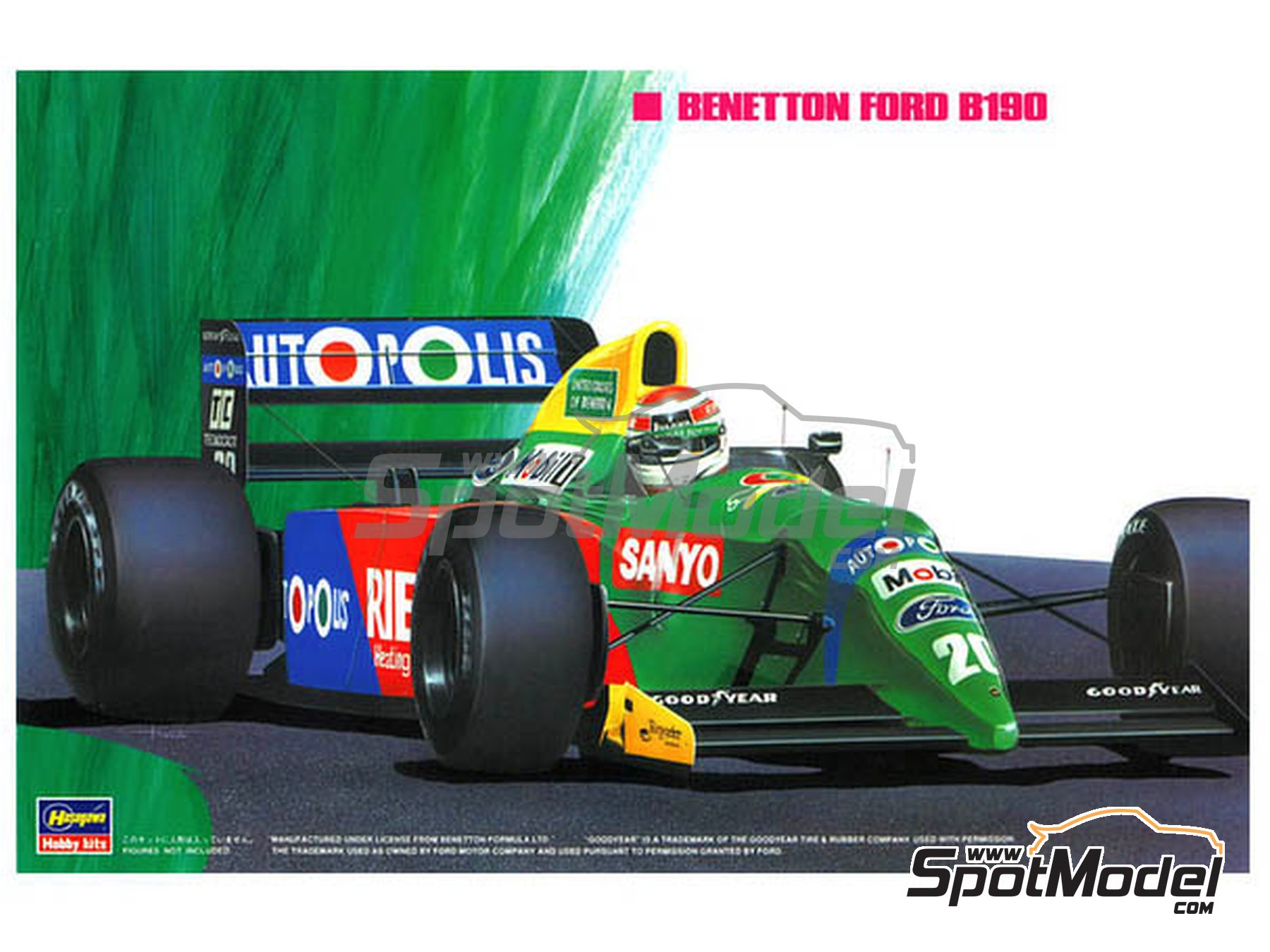 Image 1: Benetton Ford B190 Autopolis - Japanese Formula 1 Grand Prix, Monaco Formula 1 Grand Prix 1990 | Model car kit in 1/24 scale manufactured by Hasegawa (ref. 20340, also FS5, FS-5, 23010, CF10, CF-10, 51550, SP50, 23013, CF13 and CF-13)