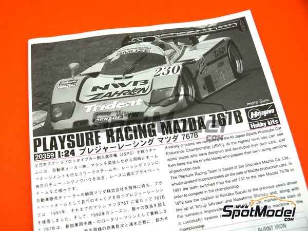 Image 7: Mazda 767B NWB Playsure Racing - Japan Sport Prototype Endurance Championship (JSPC) 1992 | Model car kit in 1/24 scale manufactured by Hasegawa (ref.20359, also hsg20359 and 4967834203594)