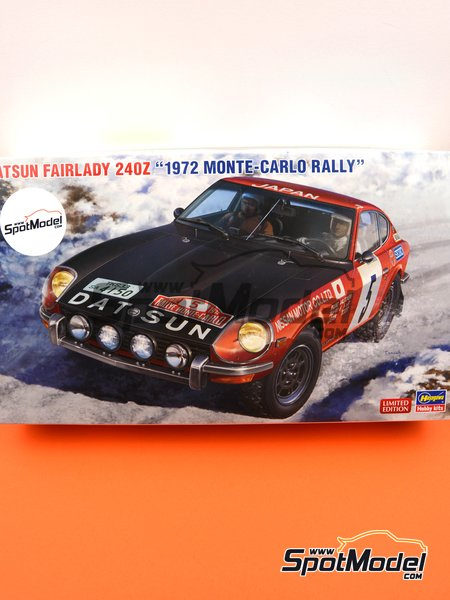 Datsun Fairlady 240Z Nissan Motors - Montecarlo Rally - Rallye Automobile de Monte-Carlo 1972 | Model car kit in 1/24 scale manufactured by Hasegawa (ref. 20374, also hsg20374 and 4967834203747) image