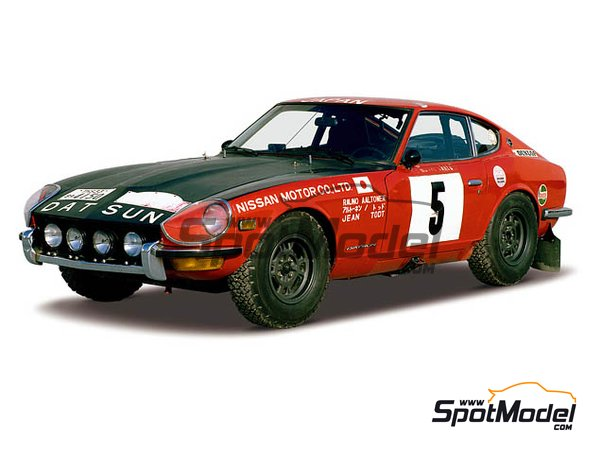 Image 1: Datsun Fairlady 240Z Nissan Motors - Montecarlo Rally - Rallye Automobile de Monte-Carlo 1972 | Model car kit in 1/24 scale manufactured by Hasegawa (ref. 20374, also hsg20374 and 4967834203747)