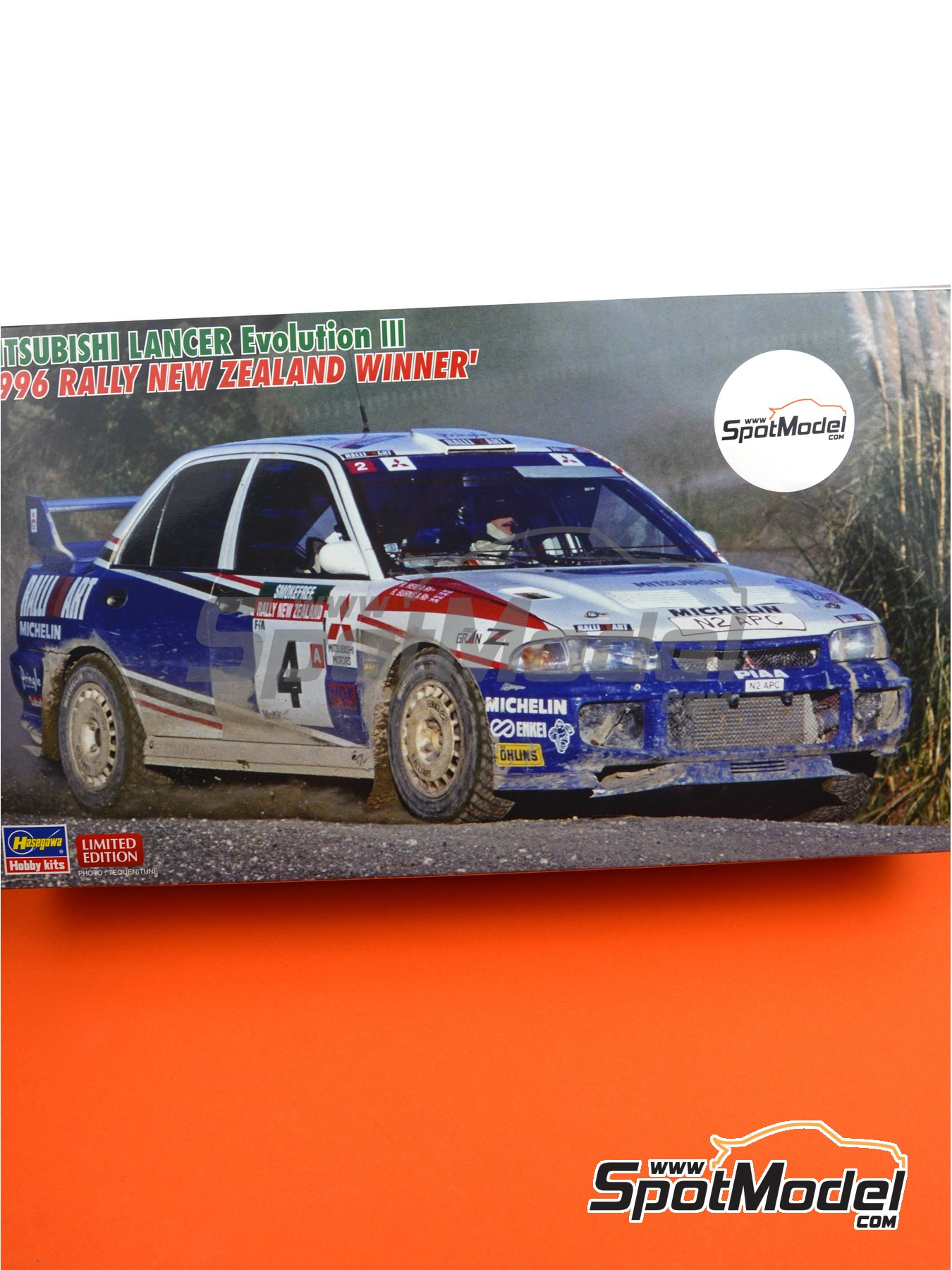Mitsubishi Lancer Evo III - New Zealand rally 1996 | Model car kit in 1/24 scale manufactured by Hasegawa (ref. 20386, also hsg20386 and 4967834203860) image