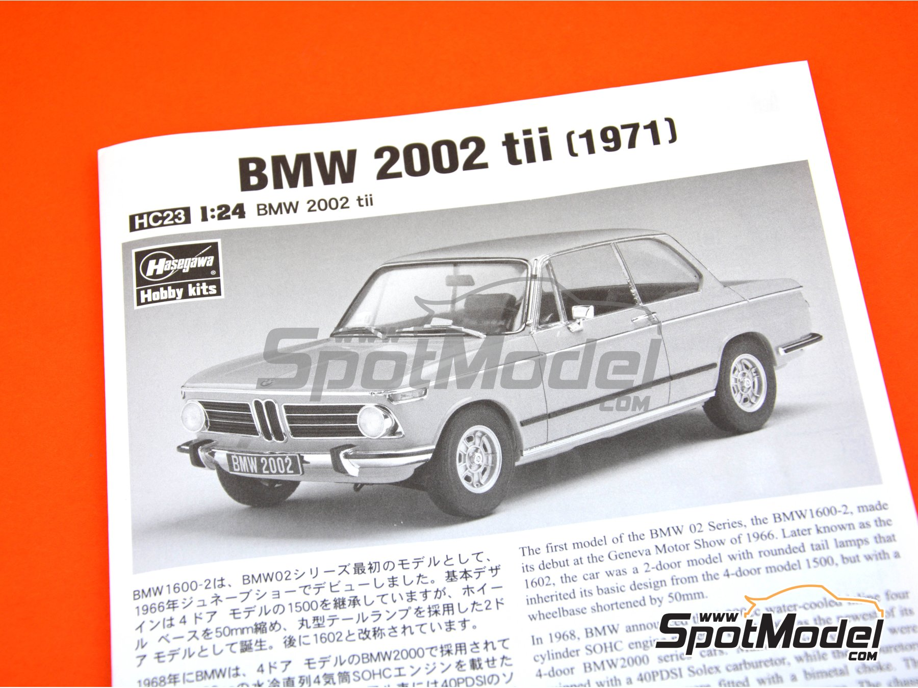 Image 11: BMW 2002 tii -  1971 | Model car kit in 1/24 scale manufactured by Hasegawa (ref. 21123)