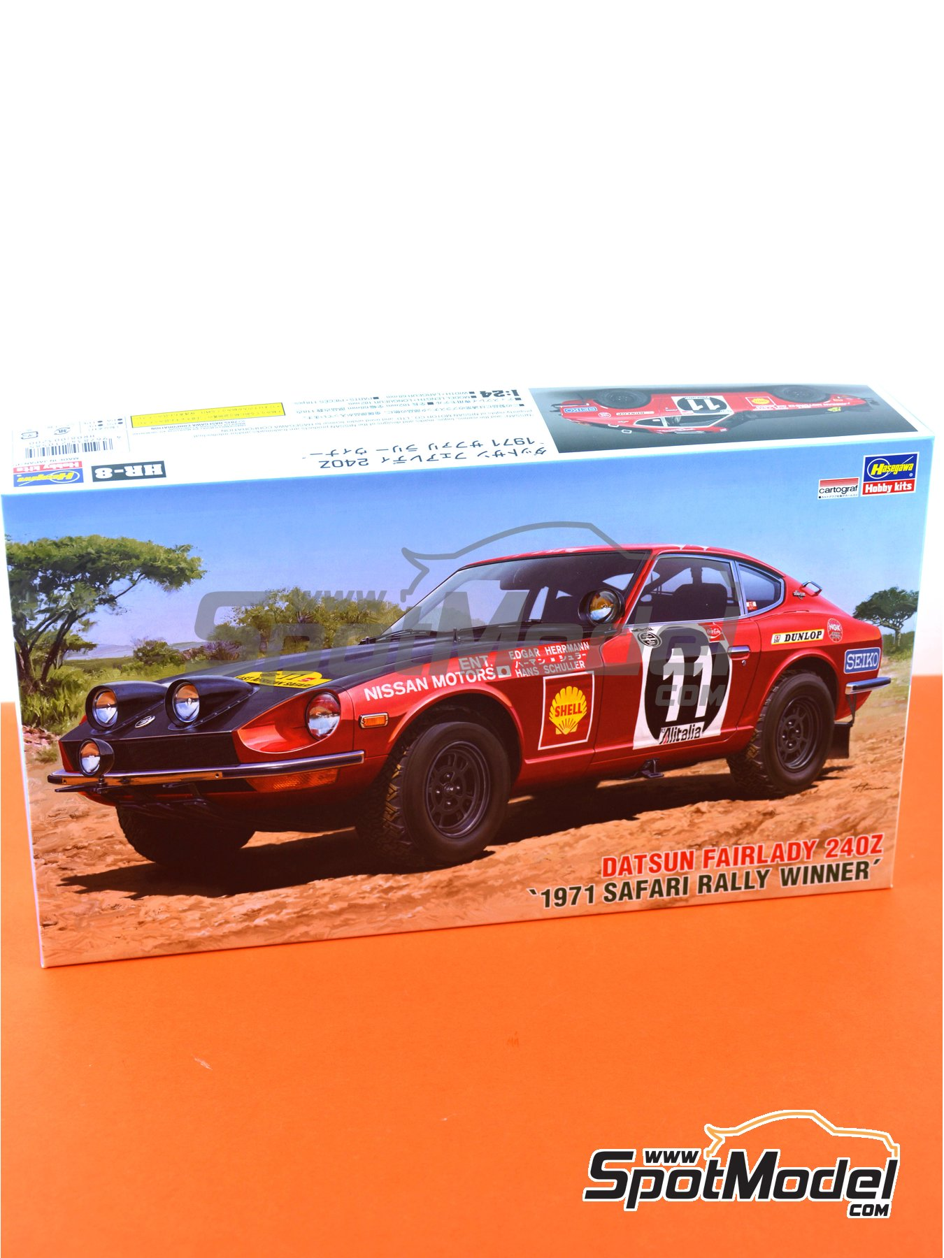 Datsun Fairlady 240Z Nissan Motors - Safari Rally 1971 | Model car kit in 1/24 scale manufactured by Hasegawa (ref. 21268) image