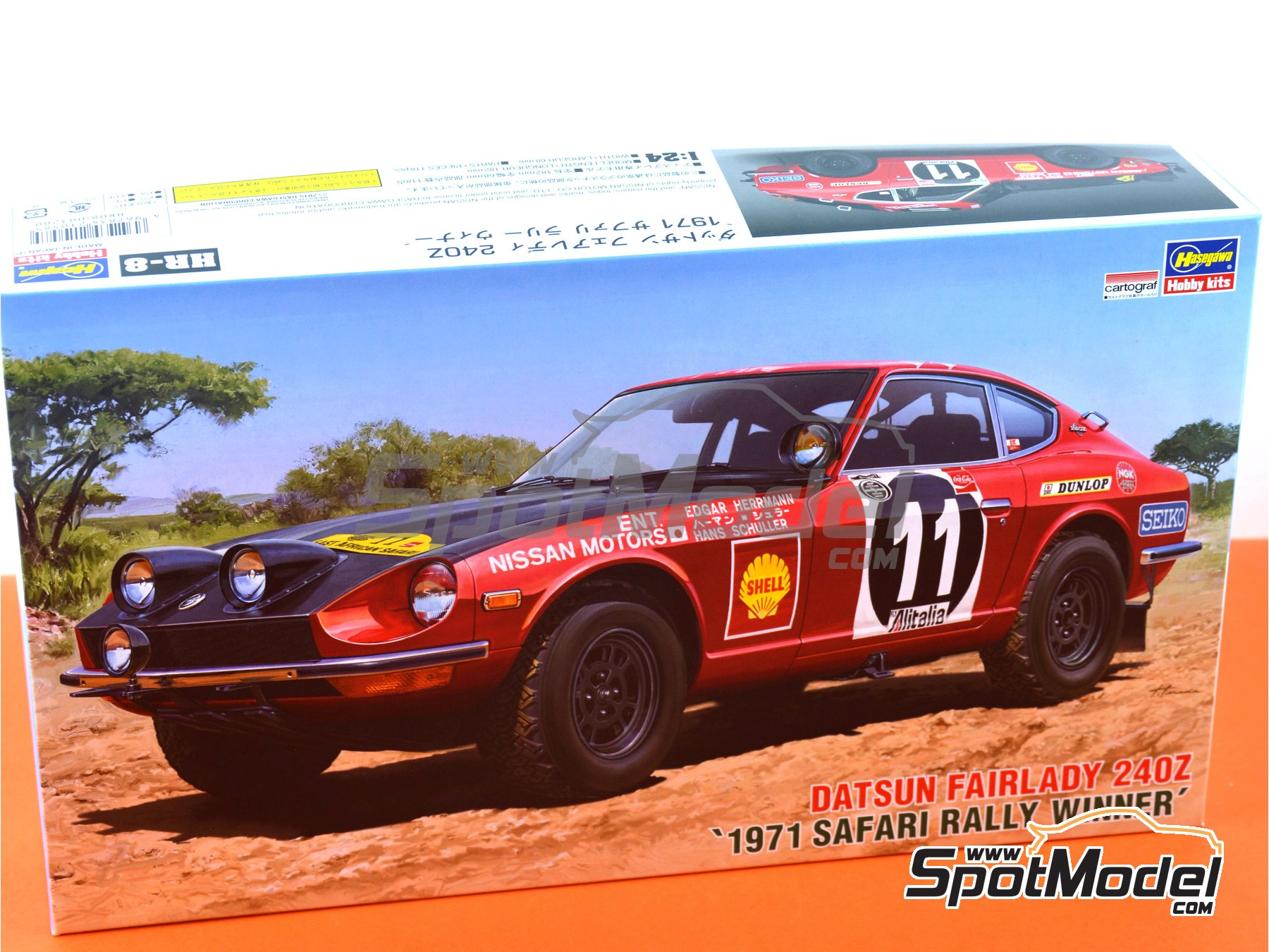 Image 8: Datsun Fairlady 240Z Nissan Motors - Safari Rally 1971 | Model car kit in 1/24 scale manufactured by Hasegawa (ref. 21268)