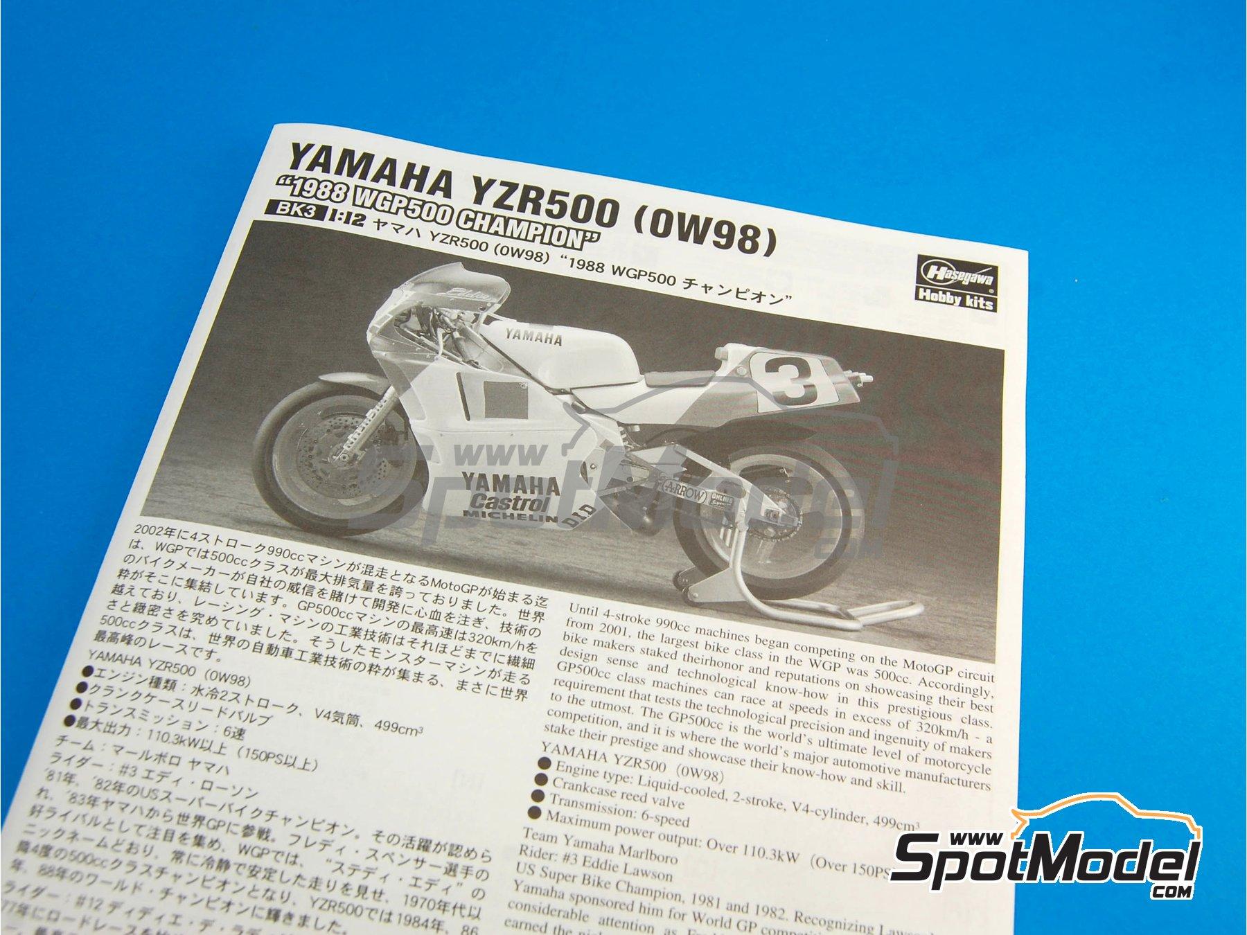 Image 2: Yamaha YZR500 OW98 Marlboro - Campeonato del Mundo de Motociclismo 1988 | Maqueta de moto en escala1/12 fabricado por Hasegawa (ref.21503, tambien BK-3)