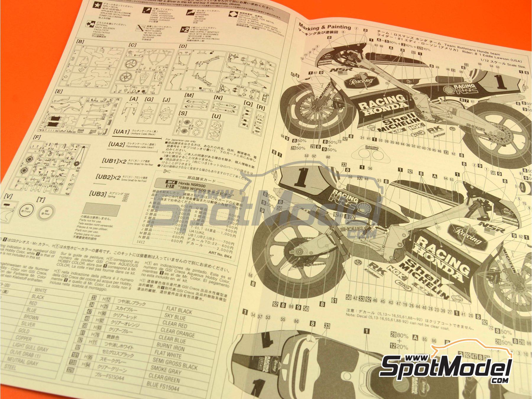 Image 4: Honda NSR500 Rothmans Honda Team - Motorcycle World Championship 1989 | Model bike kit in 1/12 scale manufactured by Hasegawa (ref. 21504, also BK-4)