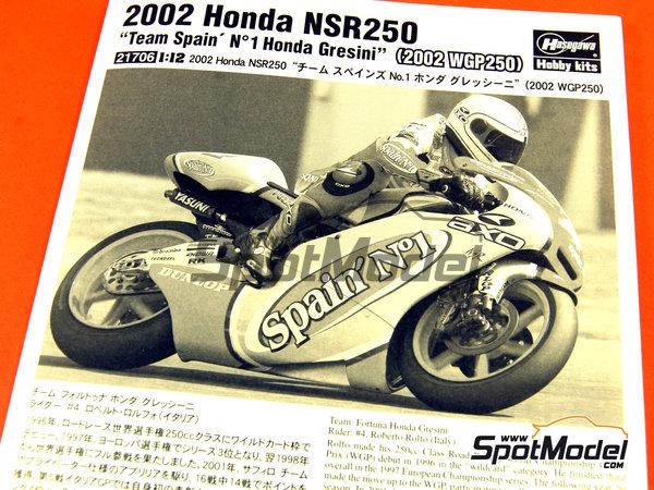 Image 8: Honda NSR250 Team Spain Gresini - Motorcycle World Championship 2002 | Model bike kit in 1/12 scale manufactured by Hasegawa (ref.21706)