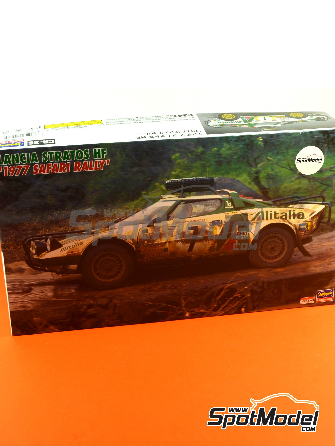 Lancia Stratos HF Alitalia - Safari Rally 1977 | Model car kit in 1/24 scale manufactured by Hasegawa (ref. 25036, also CR-36) image
