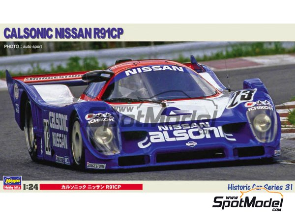 Image 1: Nissan R91CP Group C Calsonic Nismo - Japan Sport Prototype Endurance Championship (JSPC) 1991 | Model car kit in 1/24 scale manufactured by Hasegawa (ref. 21131, also HC-31 and HSGHC31)