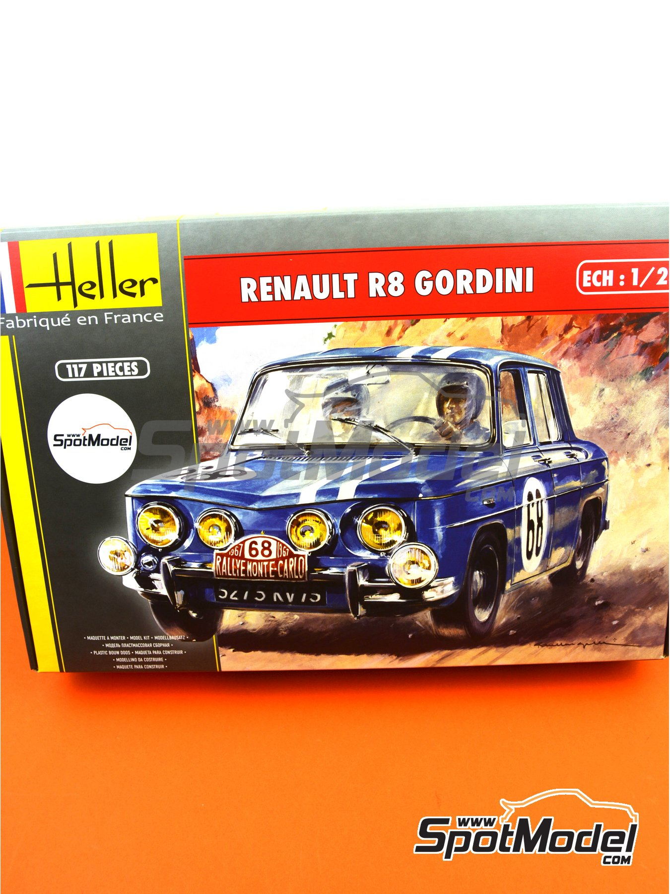 Renault R8 Gordini - Montecarlo Rally - Rallye Automobile de Monte-Carlo, Tour de Corse 1967 | Model car kit in 1/24 scale manufactured by Heller (ref. 80700, also L760 and HE80700) image