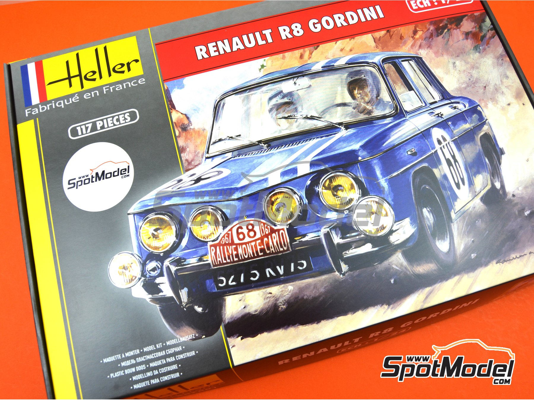Image 14: Renault R8 Gordini - Montecarlo Rally - Rallye Automobile de Monte-Carlo, Tour de Corse 1967 | Model car kit in 1/24 scale manufactured by Heller (ref. 80700, also L760 and HE80700)