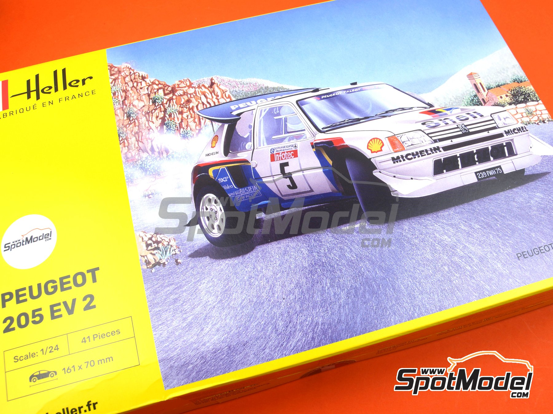 Image 1: Peugeot 205 Evo 2 Turbo 16 Shell - Tour de Corse 1986 | Model car kit in 1/24 scale manufactured by Heller (ref. 80716)