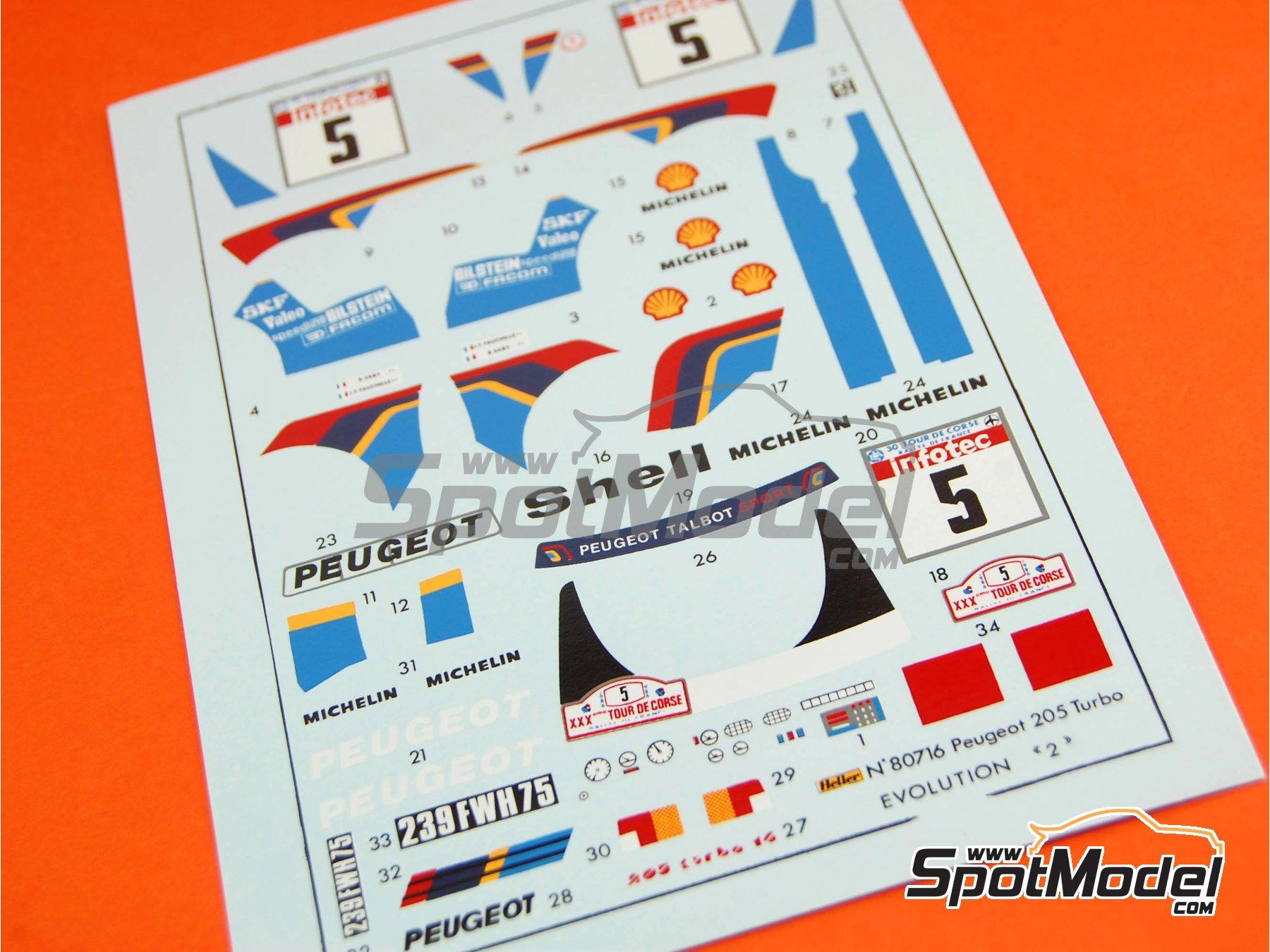 Image 11: Peugeot 205 Evo 2 Turbo 16 Shell - Rally Tour de Corse 1986 | Maqueta de coche en escala1/24 fabricado por Heller (ref.80716)