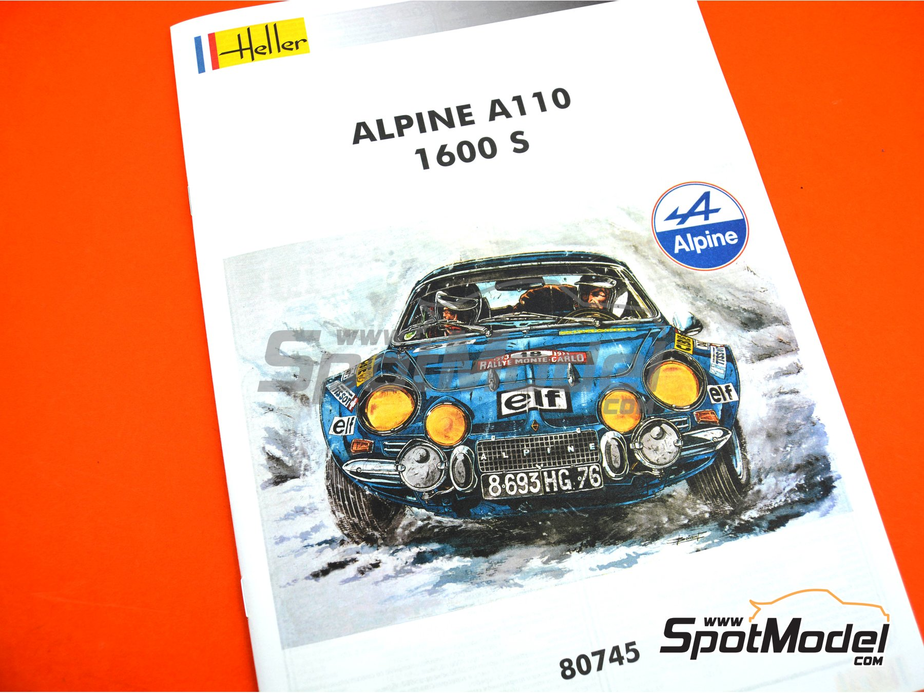 Image 10: Alpine Renault A110 1600 S - Montecarlo Rally - Rallye Automobile de Monte-Carlo, Tour de Corse 1973 | Model car kit in 1/24 scale manufactured by Heller (ref. 80745, also HEL80745, 3279510807455 and HE80745)