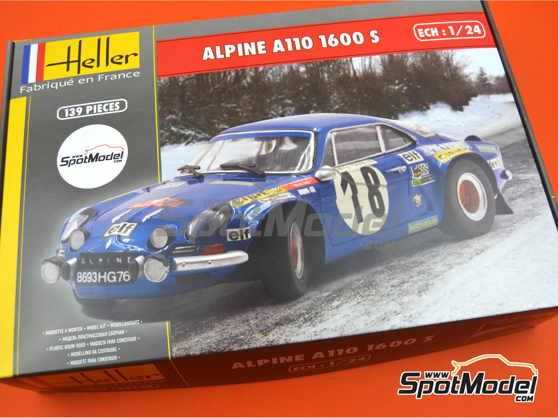 Image 15: Alpine Renault A110 1600 S - Montecarlo Rally - Rallye Automobile de Monte-Carlo, Tour de Corse 1973 | Model car kit in 1/24 scale manufactured by Heller (ref. 80745, also HEL80745, 3279510807455 and HE80745)