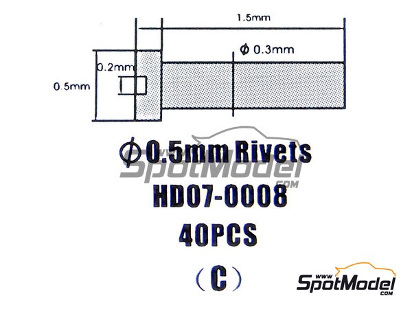 Image 1: Rivet head 0.50mm | Rivets manufactured by Hobby Design (ref. HD07-0008)