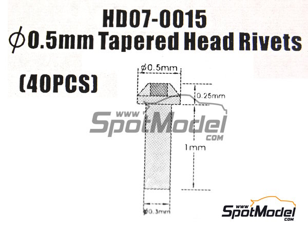Image 8: Tapered head rivets 0.5mm | Rivets manufactured by Hobby Design (ref. HD07-0015)