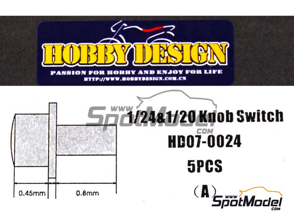 Image 1: Knob switch | Detail in 1/24 scale manufactured by Hobby Design (ref.HD07-0024)