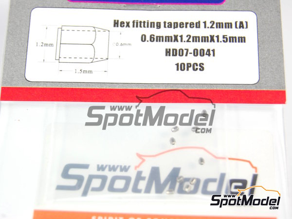 Image 3: Hex fitting tapered  0.6mm x 1.2mm x 1.5 mm | Nuts manufactured by Hobby Design (ref.HD07-0041)