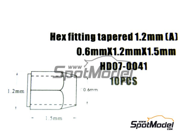 Image 4: Hex fitting tapered  0.6mm x 1.2mm x 1.5 mm | Nuts manufactured by Hobby Design (ref. HD07-0041)