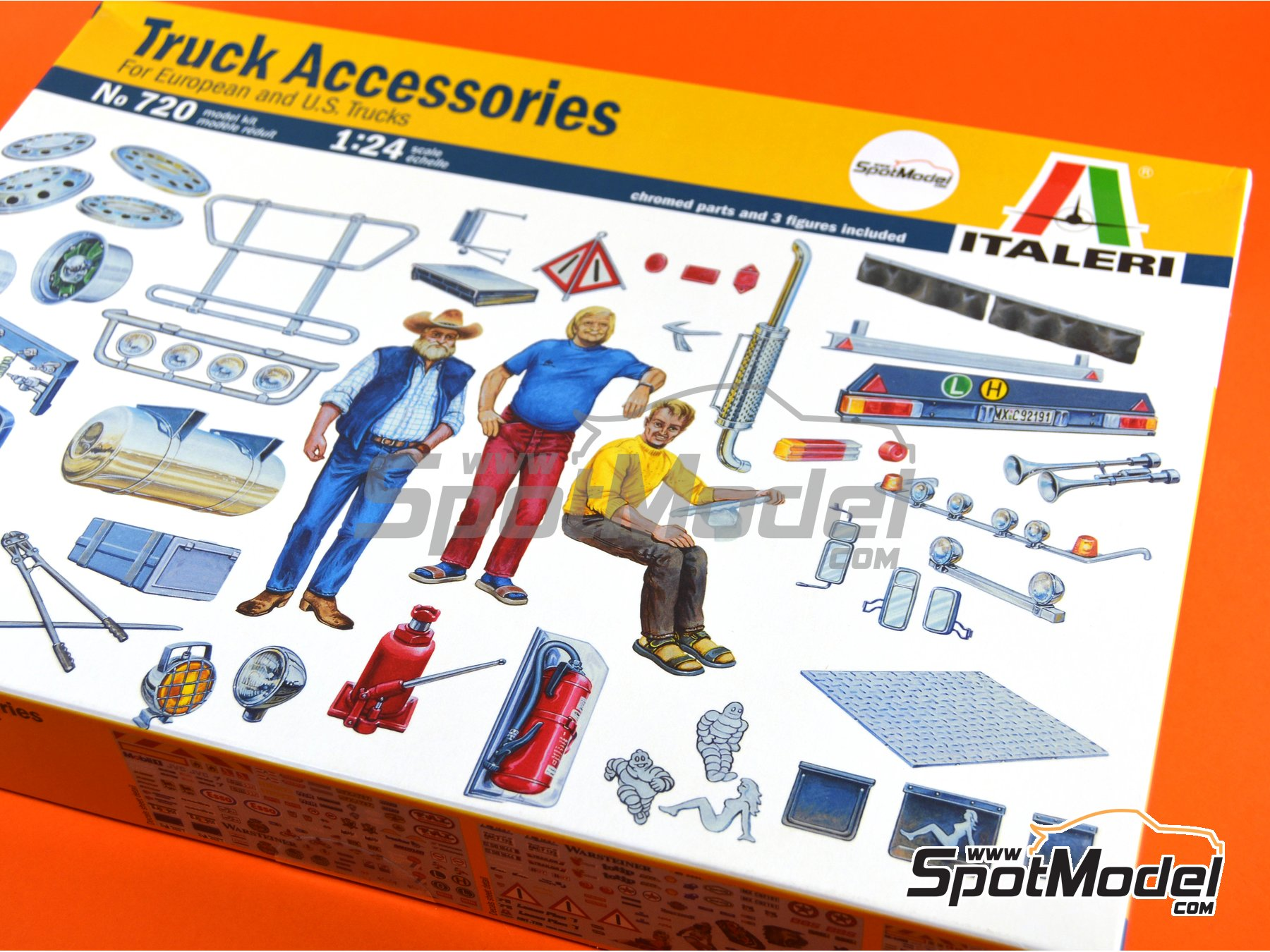 Image 5: Truck accesories and figures | Model kit in 1/24 scale manufactured by Italeri (ref. 0720)