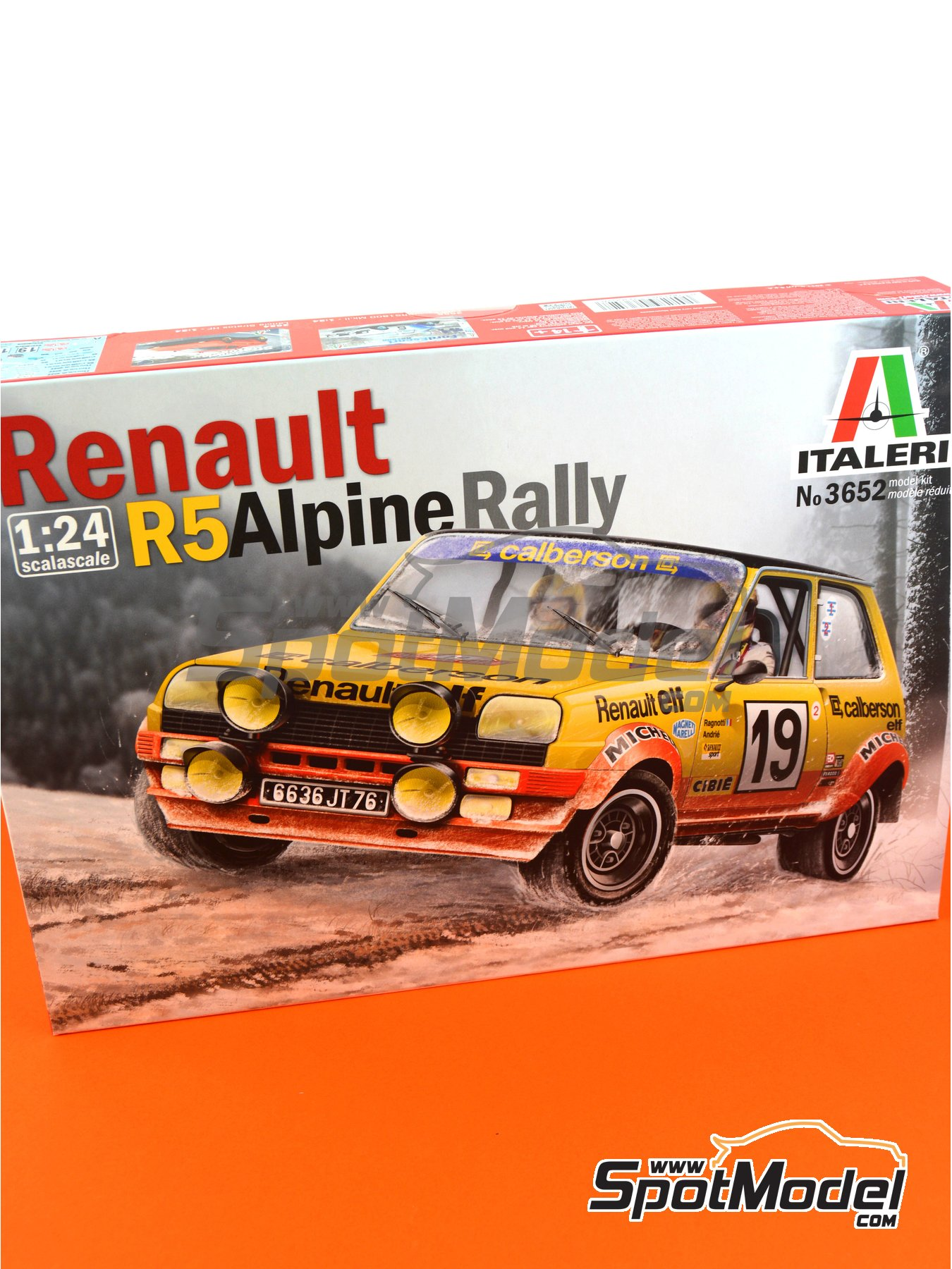 Renault R5 Alpine Rally Calberson - Montecarlo Rally 1978 | Model car kit in 1/24 scale manufactured by Italeri (ref. 3652) image
