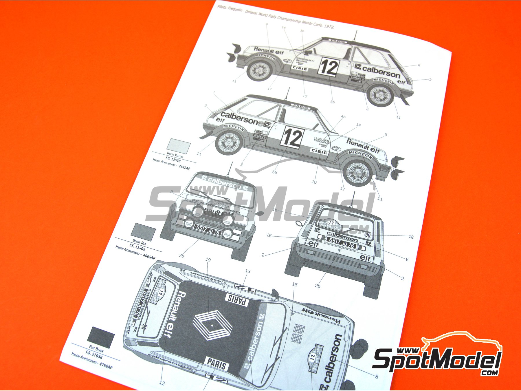 Image 17: Renault R5 Alpine Rally Calberson - Montecarlo Rally 1978 | Model car kit in 1/24 scale manufactured by Italeri (ref. 3652)