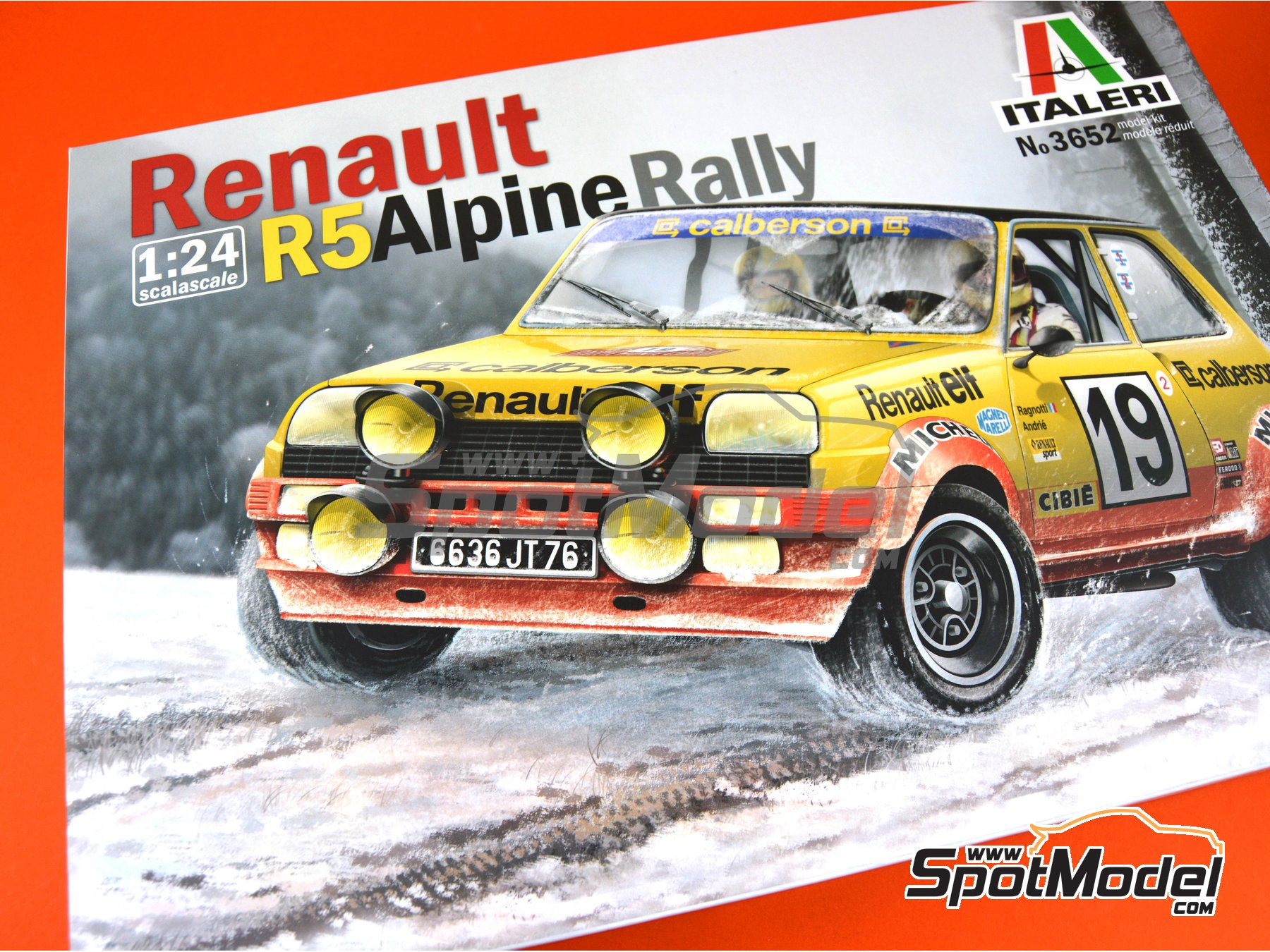 Image 18: Renault R5 Alpine Rally Calberson - Montecarlo Rally 1978 | Model car kit in 1/24 scale manufactured by Italeri (ref. 3652)