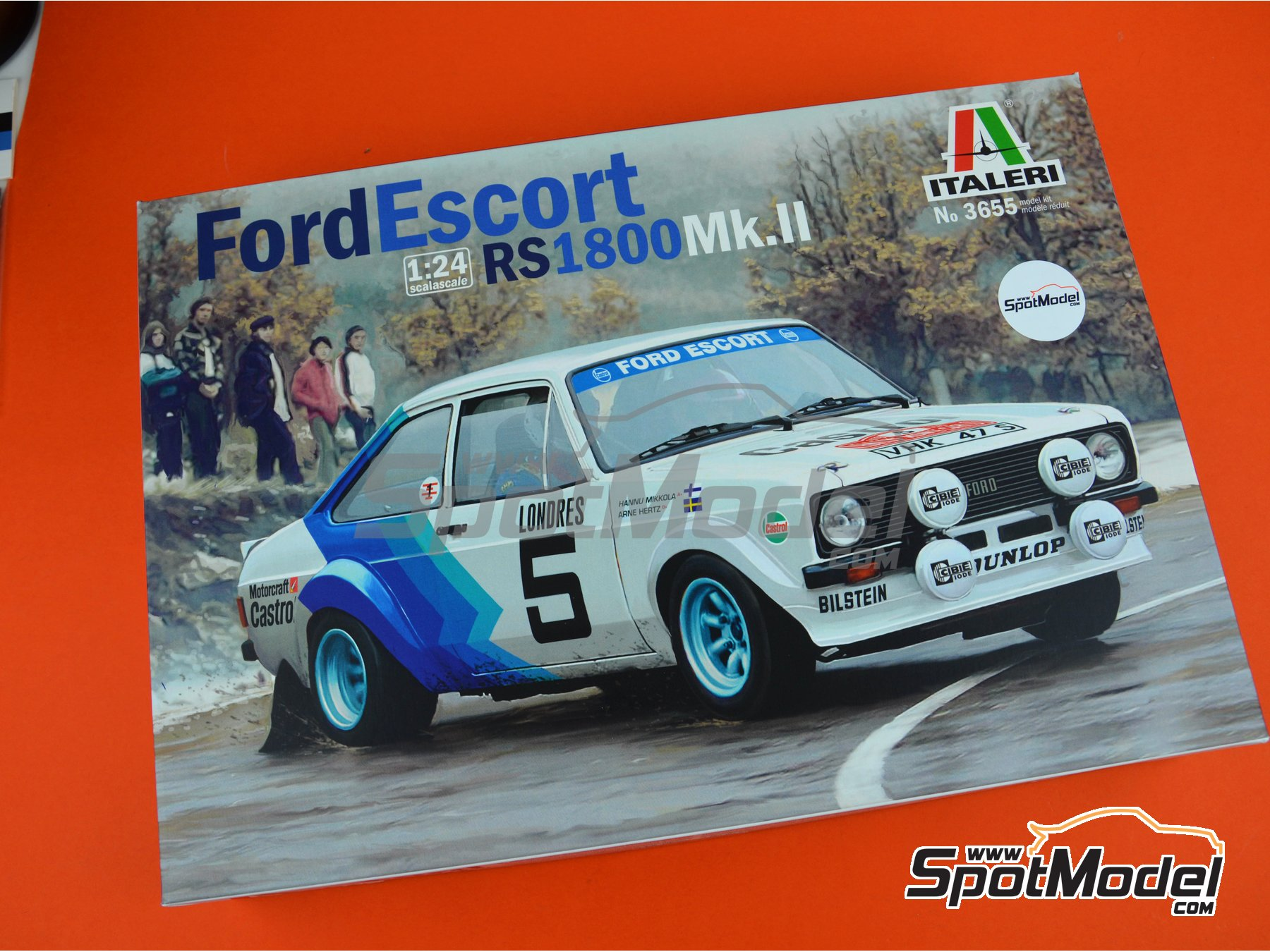 Image 14: Ford Escort Mk. II RS1800 - Montecarlo Rally 1979 | Model car kit in 1/24 scale manufactured by Italeri (ref. 3655)