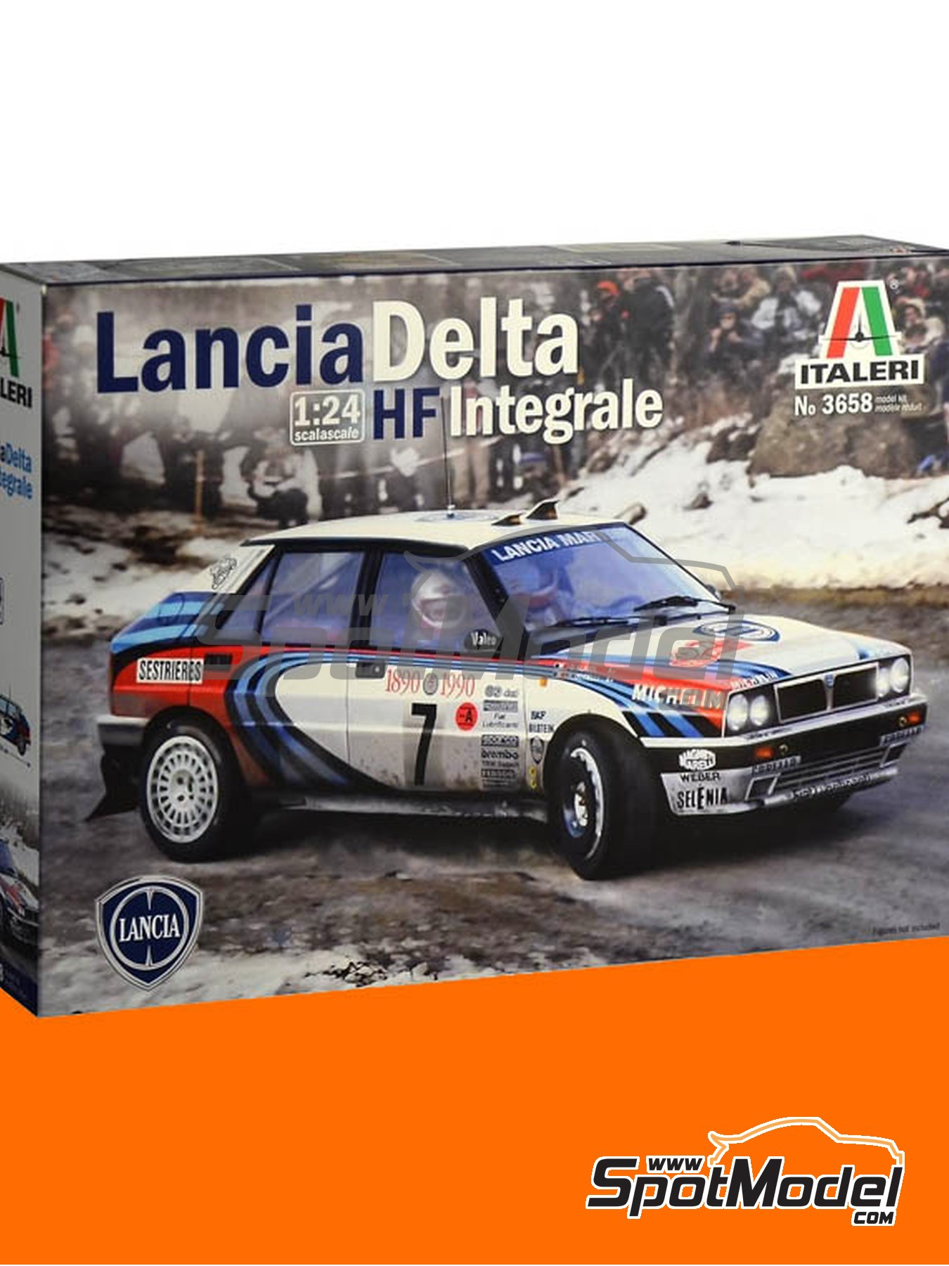 Lancia Delta HF Integrale 16V Martini Racing Team - Montecarlo Rally 1990 and 1993 | Model car kit in 1/24 scale manufactured by Italeri (ref. 3658) image