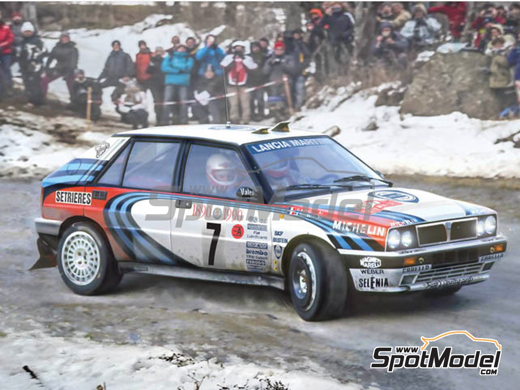 Image 9: Lancia Delta HF Integrale 16V Martini Racing Team - Montecarlo Rally 1990 and 1993 | Model car kit in 1/24 scale manufactured by Italeri (ref. 3658)
