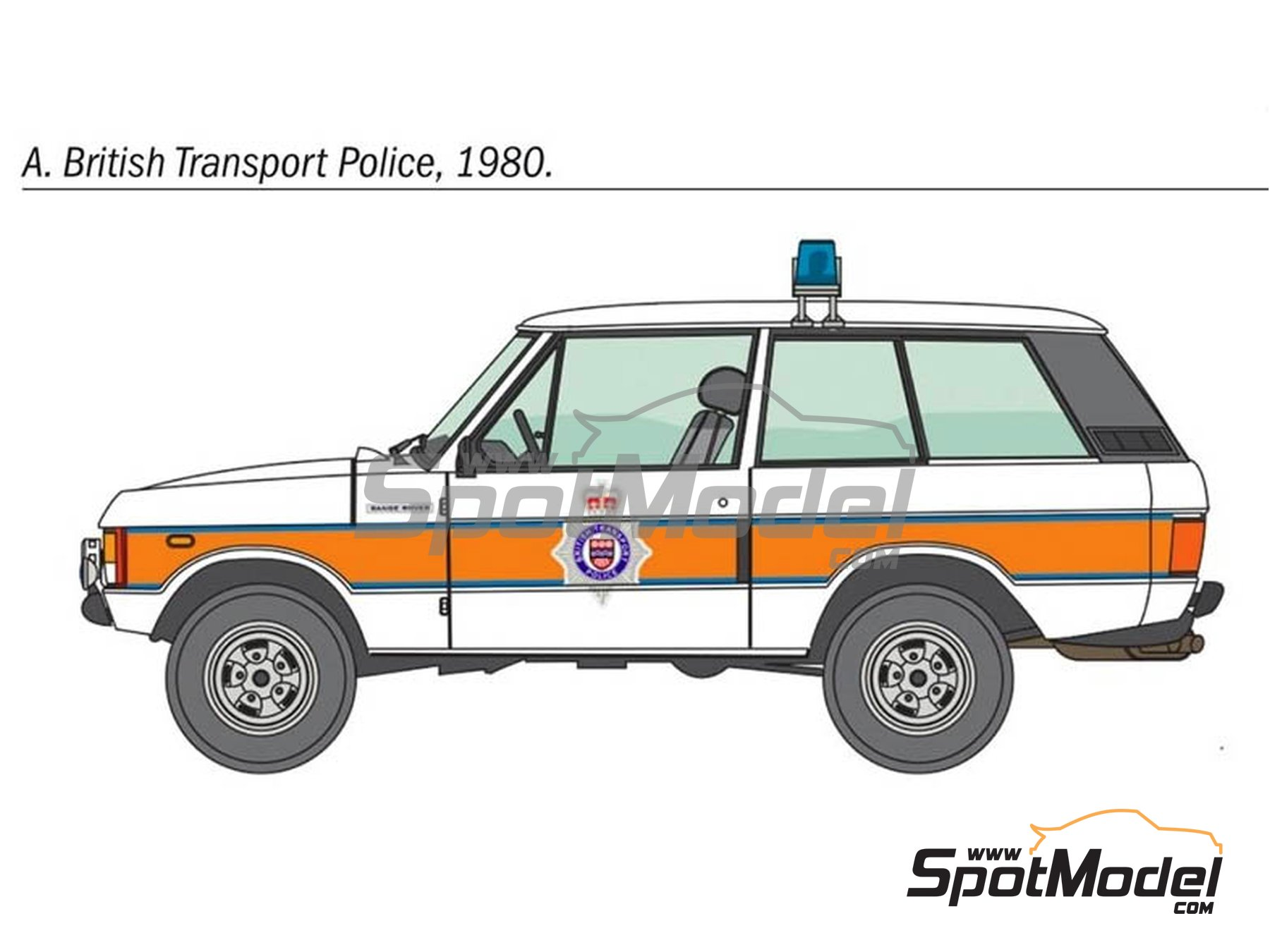 Image 2: Range Rover Police -  1979 and 1980 | Model car kit in 1/24 scale manufactured by Italeri (ref. 3661, also ita3661, IT3661 and 8001283036610)
