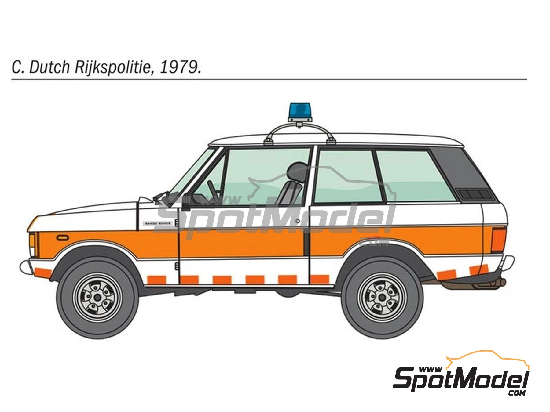 Image 3: Range Rover Police -  1979 and 1980 | Model car kit in 1/24 scale manufactured by Italeri (ref. 3661, also ita3661, IT3661 and 8001283036610)
