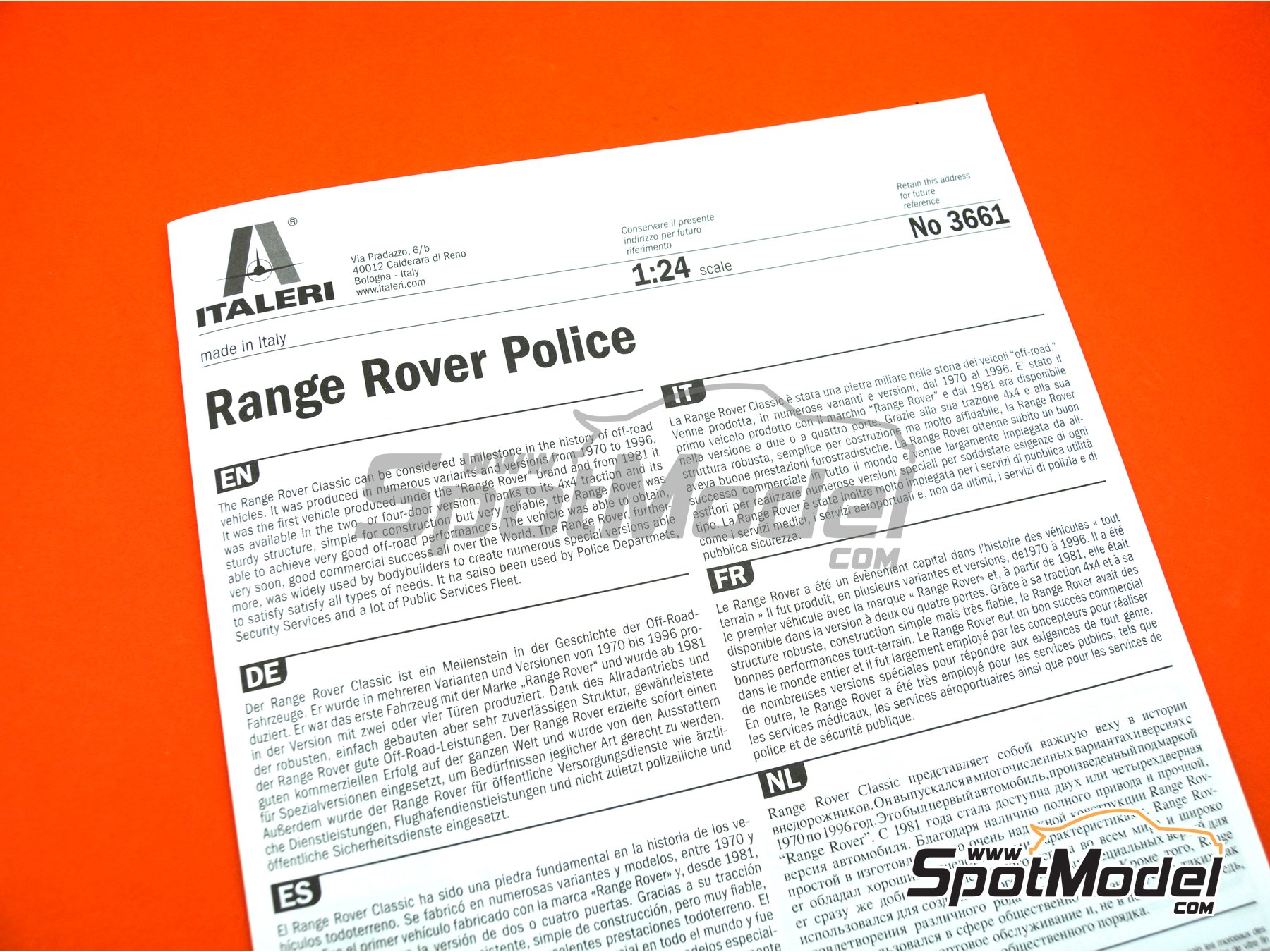 Image 12: Range Rover Police -  1979 and 1980 | Model car kit in 1/24 scale manufactured by Italeri (ref. 3661, also ita3661, IT3661 and 8001283036610)
