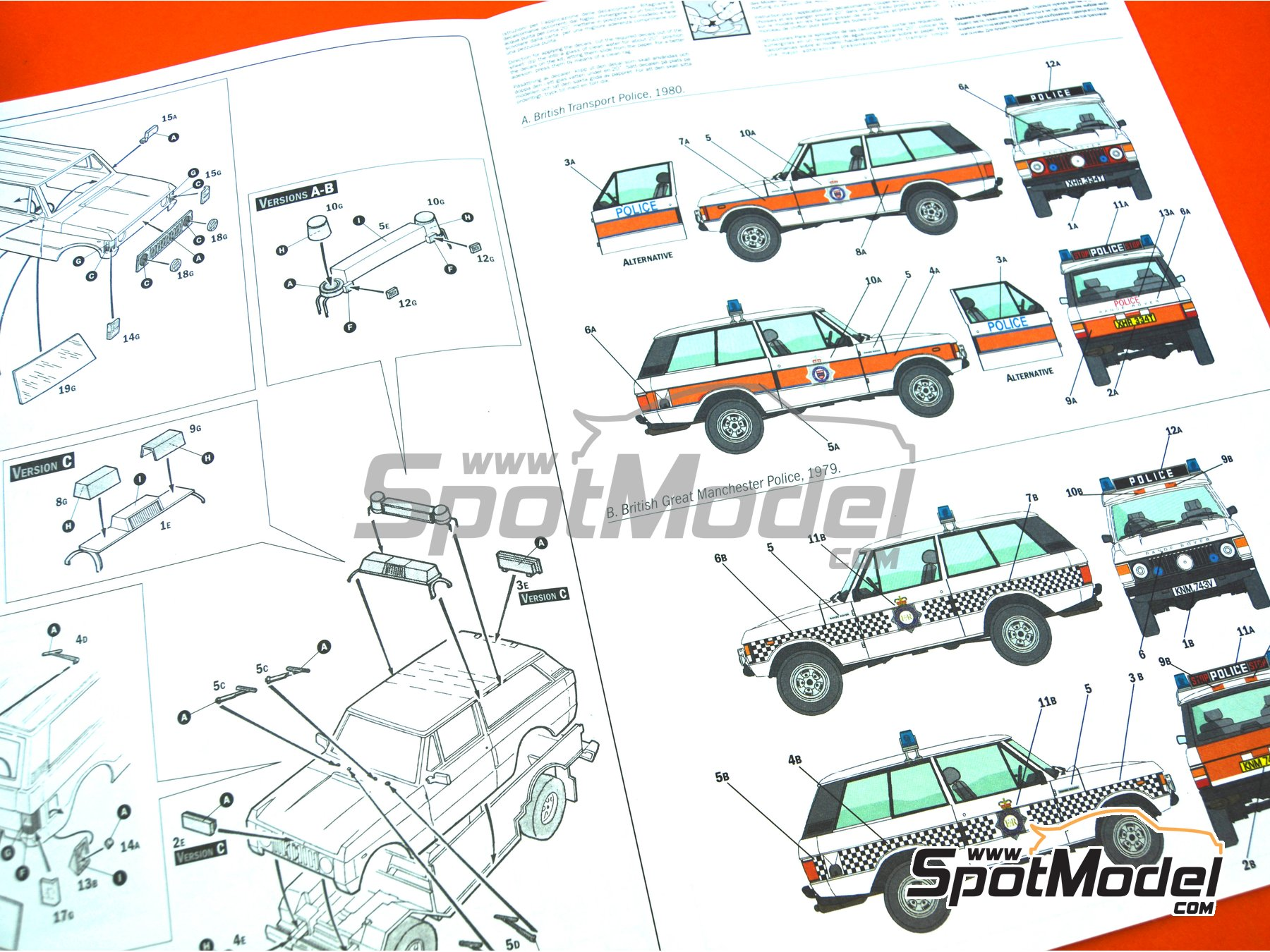 Image 14: Range Rover Police -  1979 and 1980 | Model car kit in 1/24 scale manufactured by Italeri (ref. 3661, also ita3661, IT3661 and 8001283036610)