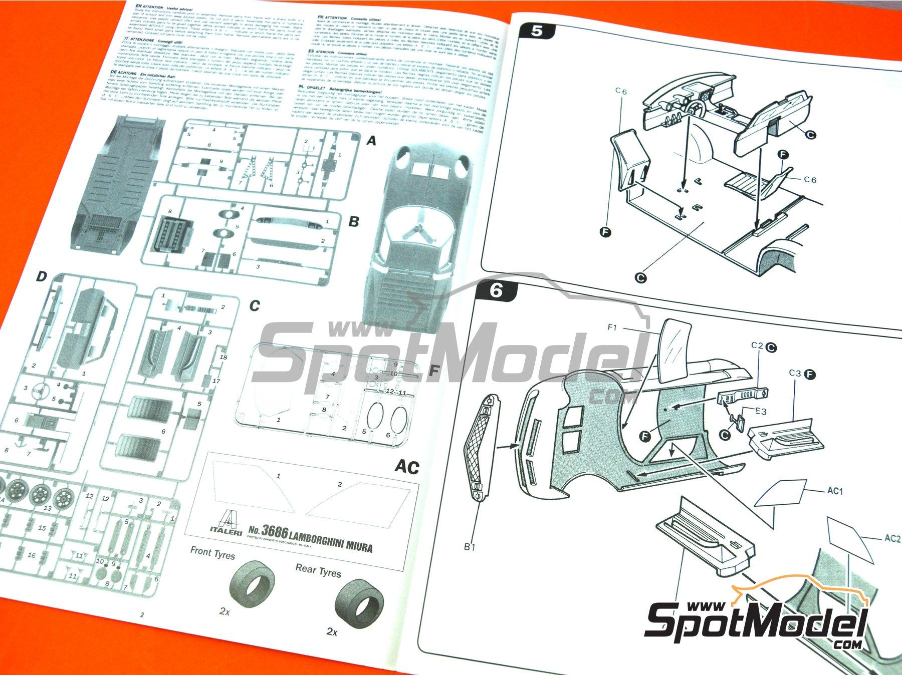 Image 5: Lamborghini Miura | Model car kit in 1/24 scale manufactured by Italeri (ref.3686)