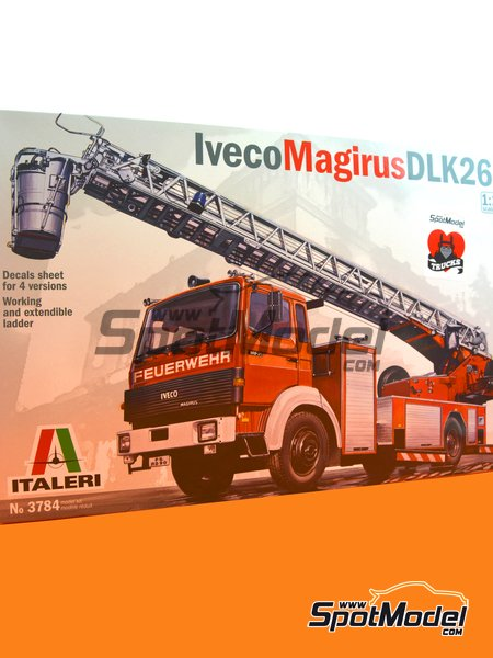 Iveco Magirus DLK 26-12 Fire Ladder Truck | Model truck kit in 1/24 scale manufactured by Italeri (ref. 3784) image