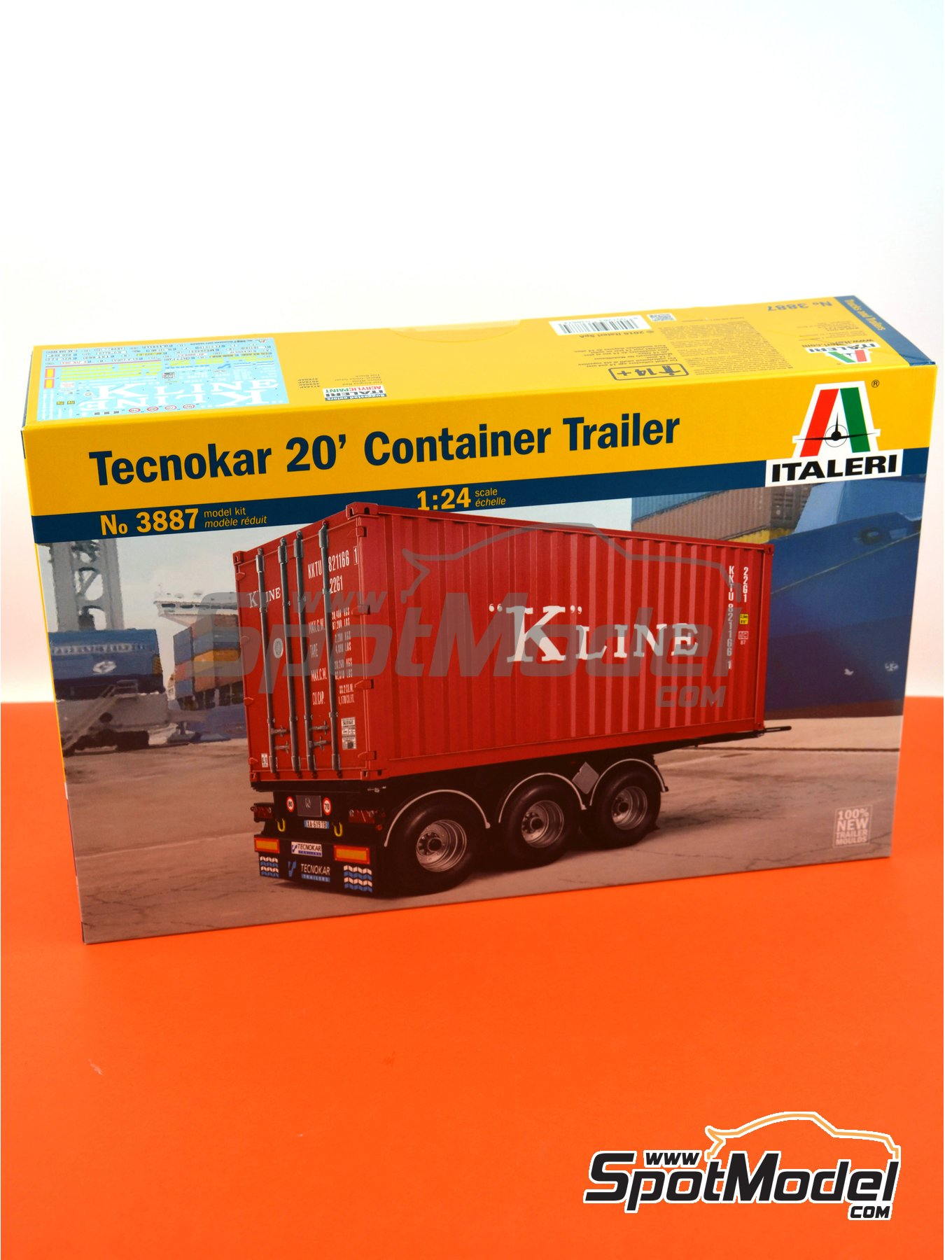 Tecnokar 20' container trailer | Trailer kit in 1/24 scale manufactured by Italeri (ref. 3887) image