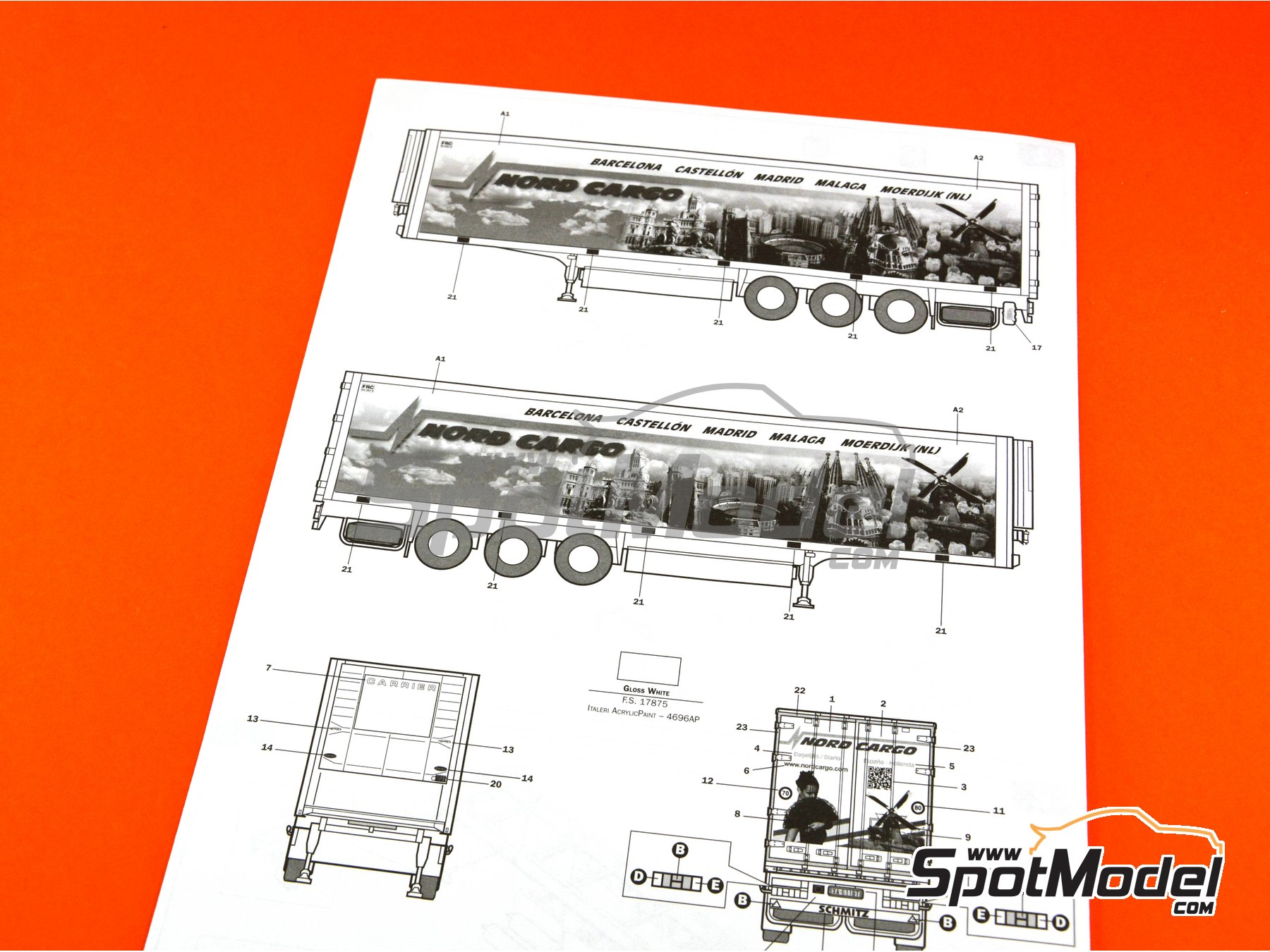 Image 14: Reefer trailer | Model truck kit in 1/24 scale manufactured by Italeri (ref.3904)