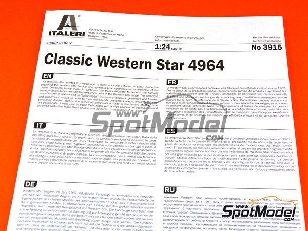 Image 10: Classic Western Star 4964 | Maqueta de camión en escala1/24 fabricado por Italeri (ref.3915)
