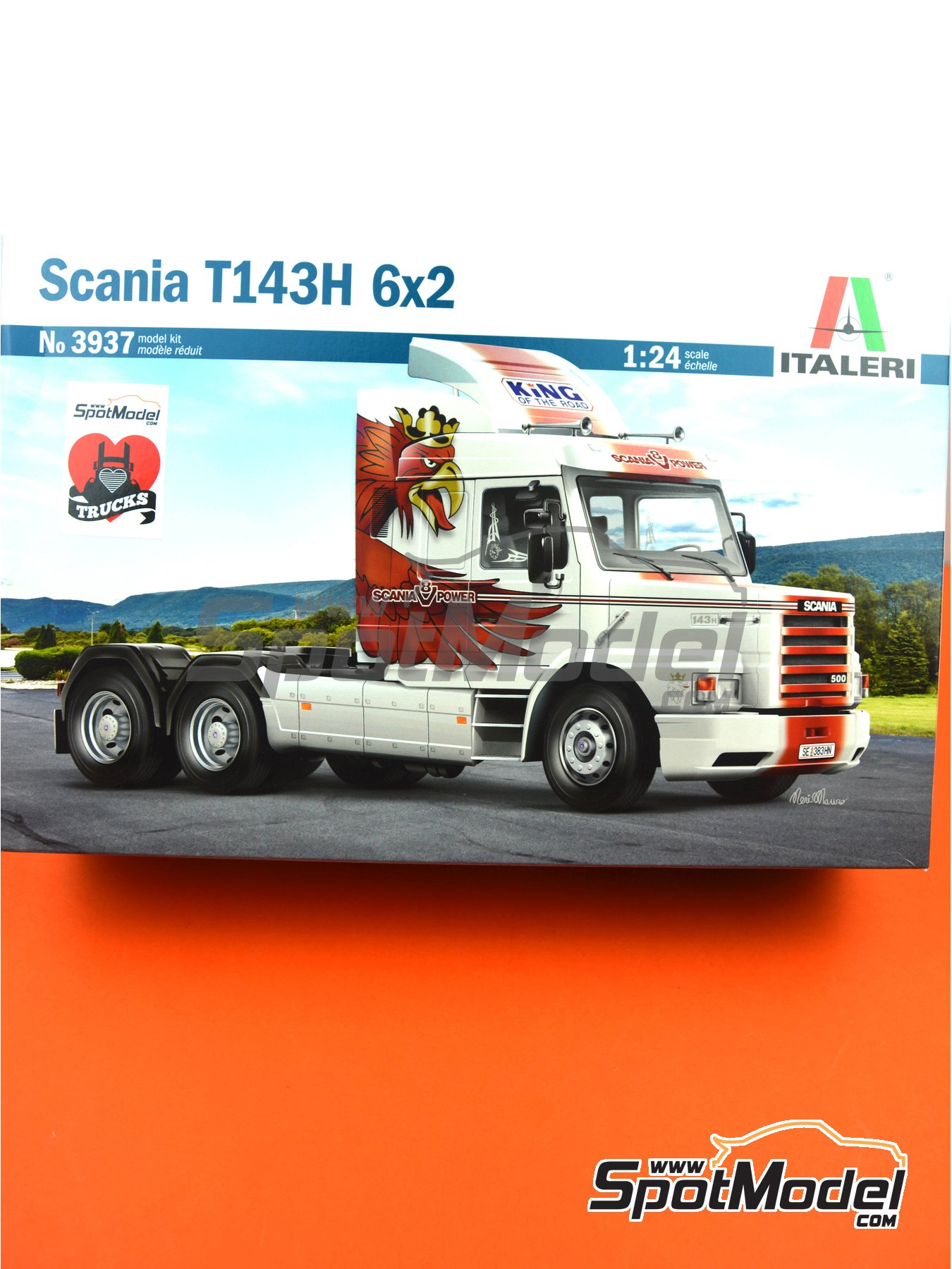 Scania T143H 6x2 | Model truck kit in 1/24 scale manufactured by Italeri (ref. 3937, also ITA3937 and IT3937) image