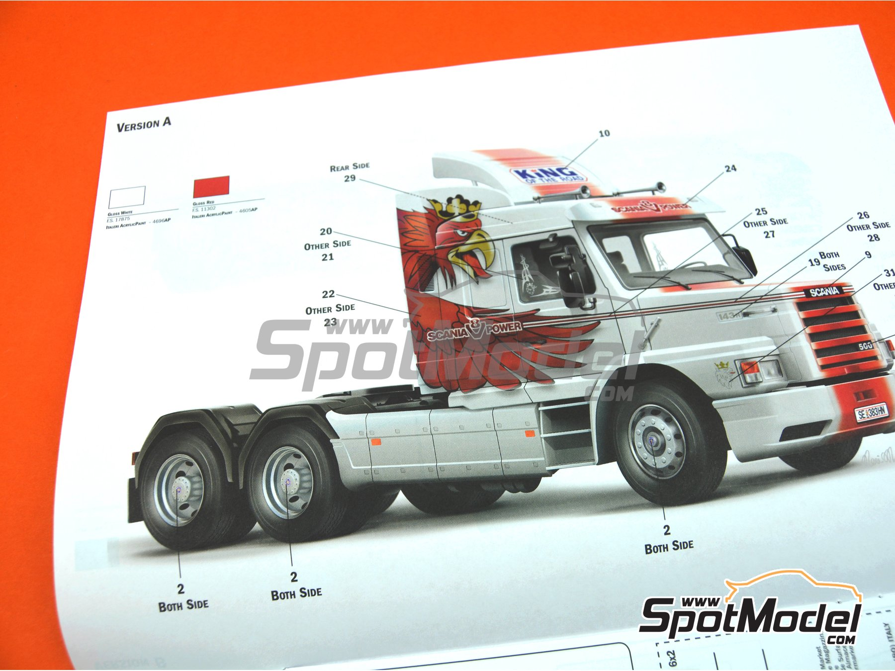 Image 10: Scania T143H 6x2 | Model truck kit in 1/24 scale manufactured by Italeri (ref. 3937, also ITA3937 and IT3937)