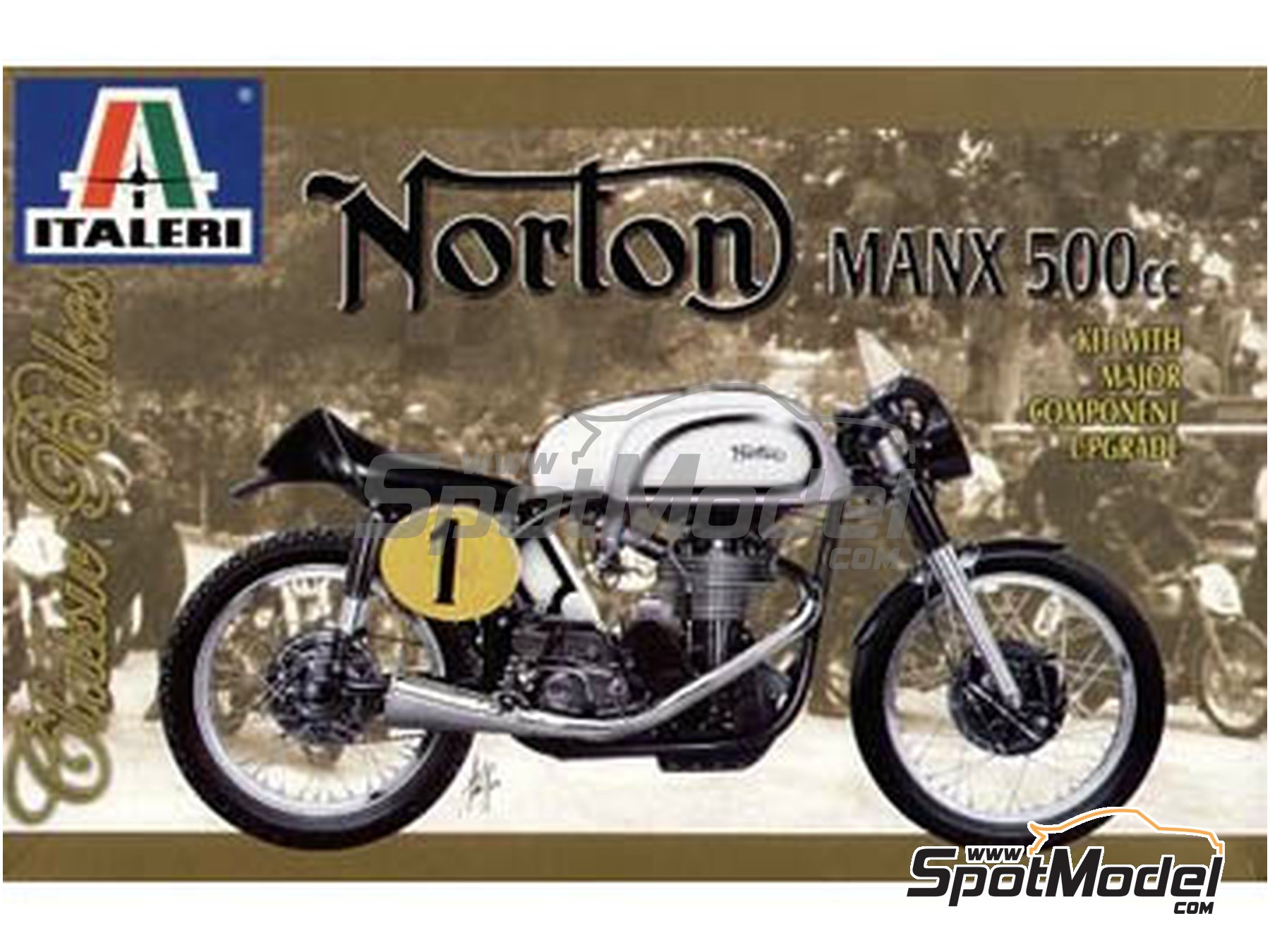 Image 1: Norton Manx 500cc - Motorcycle World Championship | Model bike kit in 1/9 scale manufactured by Italeri (ref. 4602)