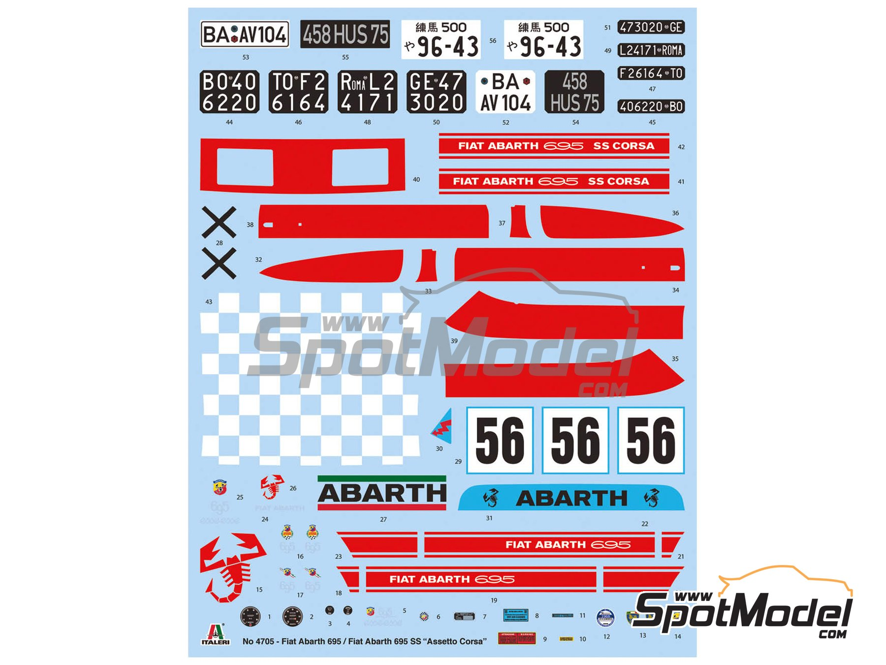 Image 7: Fiat Abarth 695 SS Assetto Corsa | Model car kit in 1/12 scale manufactured by Italeri (ref. 4705, also ITA4705 and IT4705)