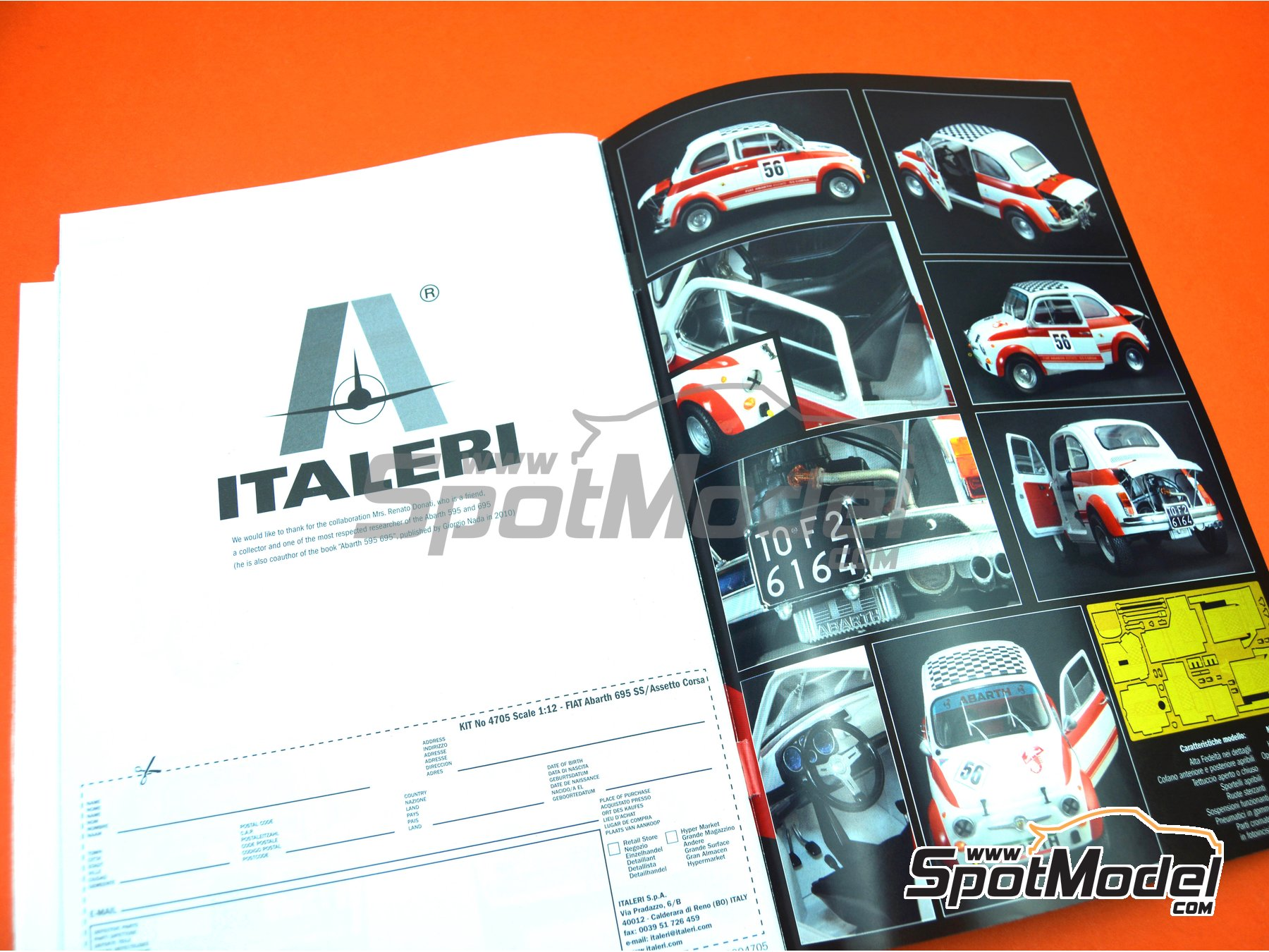 Image 29: Fiat Abarth 695 SS Assetto Corsa | Model car kit in 1/12 scale manufactured by Italeri (ref. 4705, also ITA4705 and IT4705)