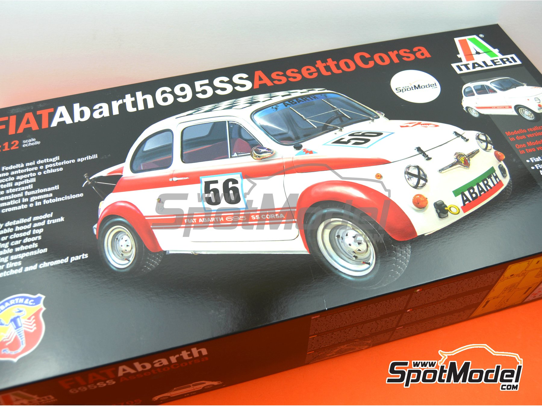 Image 33: Fiat Abarth 695 SS Assetto Corsa | Model car kit in 1/12 scale manufactured by Italeri (ref. 4705, also ITA4705 and IT4705)